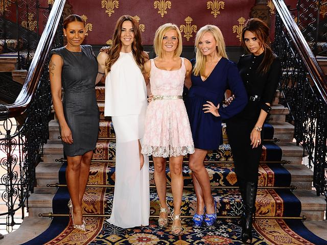 2012 Summer Olympics Closing Ceremony Spice Girls London UK - The  British stars Melanie Brown, Emma Bunton, Geri Halliwell, Melanie Chisholm and Victoria Beckham from the Spice Girls (a pop group formed in 1994), won a rapturous applause at the spectacle of the Closing Ceremony of the Summer Olympics (August 12, 2012) in London, UK, when they performed two of their greatest hits 'Wannabe' and 'Spice Up Your Life'. Closing ceremony, called