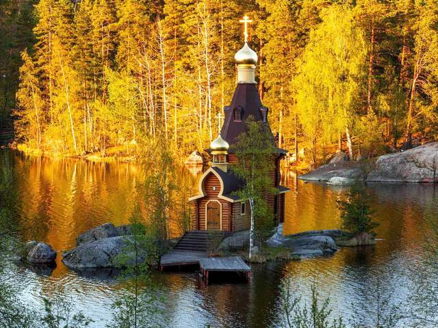 Tiny Russian Orthodox Church on Lake Vuoksa - Autumn landscape of a beautiful mysterious place with a fairy tiny Russian Orthodox Church, perched charmingly atop on a tiny stony island on Lake Vuoksa, on the boarder between Rusia and Finland, about two hours north of St. Petersburg. In spite of it seems like from fairy tale, this is modern miniature wooden chapel, dedicated to Holy Apostle Andrew the First (Andrei Pervozvanny), the patron saint of fishermen. This little gem was designed in the early 2000s by the Russian architect Andrei Rotinov, and was modeled on the famous Church of the Ascension at Kolomenskoye, a former royal estate in Moscow and is sometimes available for baptisms and weddings, by request in advance. - , tiny, Russian, Orthodox, church, churches, lake, lakes, Vuoksa, nature, natures, places, place, autumn, landscape, landscapes, beautiful, mysterious, fairy, charmingly, atop, stony, island, islands, boarder, boarders, Rusia, Finland, hourshour, north, St., Petersburg, St.Petersburg, tale, tales, modern, miniature, wooden, chapel, chapels, Holy, Apostle, Andrew, First, Andrei, Pervozvanny, patron, patrons, saint, saints, fishermen, fisherman, gem, gems, architect, architects, Rotinov, famous, Ascension, Kolomenskoye, royal, estate, estates, Moscow, baptisms, baptism, weddings, wedding, request, requests, advance - Autumn landscape of a beautiful mysterious place with a fairy tiny Russian Orthodox Church, perched charmingly atop on a tiny stony island on Lake Vuoksa, on the boarder between Rusia and Finland, about two hours north of St. Petersburg. In spite of it seems like from fairy tale, this is modern miniature wooden chapel, dedicated to Holy Apostle Andrew the First (Andrei Pervozvanny), the patron saint of fishermen. This little gem was designed in the early 2000s by the Russian architect Andrei Rotinov, and was modeled on the famous Church of the Ascension at Kolomenskoye, a former royal estate in Moscow and is sometimes available for baptisms and weddings, by request in advance. Solve free online Tiny Russian Orthodox Church on Lake Vuoksa puzzle games or send Tiny Russian Orthodox Church on Lake Vuoksa puzzle game greeting ecards  from puzzles-games.eu.. Tiny Russian Orthodox Church on Lake Vuoksa puzzle, puzzles, puzzles games, puzzles-games.eu, puzzle games, online puzzle games, free puzzle games, free online puzzle games, Tiny Russian Orthodox Church on Lake Vuoksa free puzzle game, Tiny Russian Orthodox Church on Lake Vuoksa online puzzle game, jigsaw puzzles, Tiny Russian Orthodox Church on Lake Vuoksa jigsaw puzzle, jigsaw puzzle games, jigsaw puzzles games, Tiny Russian Orthodox Church on Lake Vuoksa puzzle game ecard, puzzles games ecards, Tiny Russian Orthodox Church on Lake Vuoksa puzzle game greeting ecard
