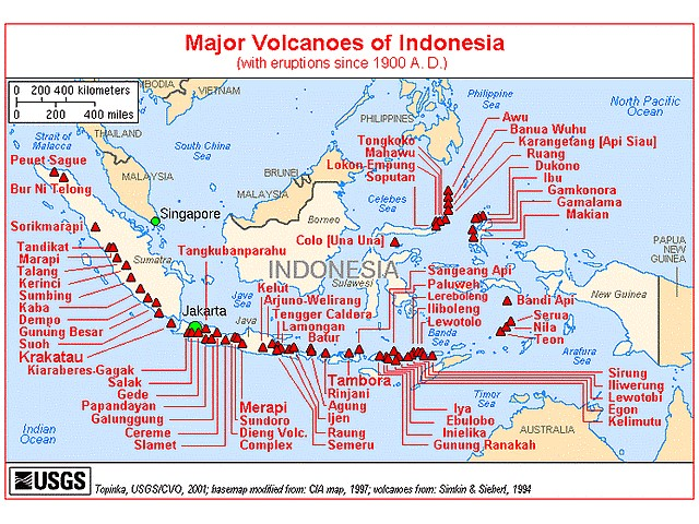 Volcano Indonesia Map of Major Volcanoes