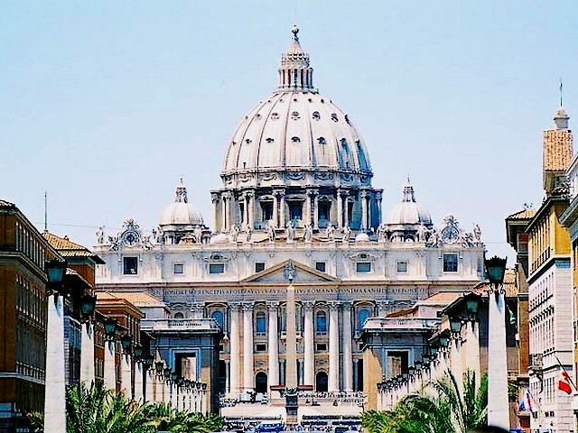 Basilica St. Peter Vatican Rome Italy - The grand east facade of St. Peter's Basilica, designed by Carlo Modeno, built between 1608-1614 and topped by 13 statues of apostles in travertine. The dome was designed by Michelangelo, unfinished when he died three weeks before his 89th birthday on February 18th, 1564 (completed in 1593). - , basilica, basilicas, St., Peter, Vatican, Rome, Italy, places, place, holidays, holiday, travel, travels, tour, tours, trips, trip, excursion, excursions, grand, east, facade, facades, Carlo, Modeno, 1608-1614, statues, statue, apostles, apostle, travertine, dome, domes, Michelangelo, 89th, birthday, birthdays, 1564, 1593 - The grand east facade of St. Peter's Basilica, designed by Carlo Modeno, built between 1608-1614 and topped by 13 statues of apostles in travertine. The dome was designed by Michelangelo, unfinished when he died three weeks before his 89th birthday on February 18th, 1564 (completed in 1593). Solve free online Basilica St. Peter Vatican Rome Italy puzzle games or send Basilica St. Peter Vatican Rome Italy puzzle game greeting ecards  from puzzles-games.eu.. Basilica St. Peter Vatican Rome Italy puzzle, puzzles, puzzles games, puzzles-games.eu, puzzle games, online puzzle games, free puzzle games, free online puzzle games, Basilica St. Peter Vatican Rome Italy free puzzle game, Basilica St. Peter Vatican Rome Italy online puzzle game, jigsaw puzzles, Basilica St. Peter Vatican Rome Italy jigsaw puzzle, jigsaw puzzle games, jigsaw puzzles games, Basilica St. Peter Vatican Rome Italy puzzle game ecard, puzzles games ecards, Basilica St. Peter Vatican Rome Italy puzzle game greeting ecard