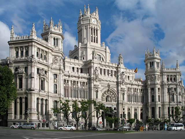 City Hall at Palacio de Cibeles Madrid - The impressive building like a cathedral of Palacio de Cibeles (Cibeles Palace, formerly Palace of Communications), was built in 1909 by Antonio Palacios as headquarter of the postal service. In 2007 this landmark building became the Madrid City Hall (Ayuntamiento de Madrid). - , City, Hall, halls, Palacio, Cibeles, Madrid, places, place, travel, travels, tour, tours, trip, trips, impressive, building, buildings, cathedral, cathedrals, palace, palaces, communications, communication, 1909, Antonio, Palacios, headquarter, headquarters, postal, service, services, 2007, landmark, Ayuntamiento - The impressive building like a cathedral of Palacio de Cibeles (Cibeles Palace, formerly Palace of Communications), was built in 1909 by Antonio Palacios as headquarter of the postal service. In 2007 this landmark building became the Madrid City Hall (Ayuntamiento de Madrid). Solve free online City Hall at Palacio de Cibeles Madrid puzzle games or send City Hall at Palacio de Cibeles Madrid puzzle game greeting ecards  from puzzles-games.eu.. City Hall at Palacio de Cibeles Madrid puzzle, puzzles, puzzles games, puzzles-games.eu, puzzle games, online puzzle games, free puzzle games, free online puzzle games, City Hall at Palacio de Cibeles Madrid free puzzle game, City Hall at Palacio de Cibeles Madrid online puzzle game, jigsaw puzzles, City Hall at Palacio de Cibeles Madrid jigsaw puzzle, jigsaw puzzle games, jigsaw puzzles games, City Hall at Palacio de Cibeles Madrid puzzle game ecard, puzzles games ecards, City Hall at Palacio de Cibeles Madrid puzzle game greeting ecard