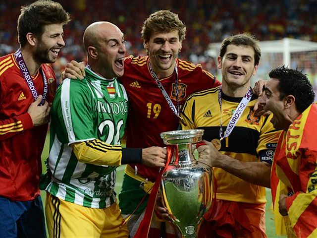 Euro 2012 Final Winners with Trophy at Olympic Stadium in Kiev Ukraine - The winners in the Euro 2012 football championships, the Spanish players Gerard Pique, Pepe Reina, Fernando Llorente, Iker Casillas and Xavi Hernandez with the trophy after the final match between Spain and Italy on July 1, 2012 at the Olympic Stadium in Kiev Ukraine. - , Euro, 2012, final, finals, winners, winner, trophy, trophies, Olympic, stadium, stadiums, Kiev, Ukraine, sport, sports, tournament, tournaments, soccer, football, footballs, championships, championship, Spanish, players, player, Gerard, Pique, Pepe, Reina, Fernando, Llorente, Iker, Casillas, Xavi, Hernandez, match, Spain, Italy, July - The winners in the Euro 2012 football championships, the Spanish players Gerard Pique, Pepe Reina, Fernando Llorente, Iker Casillas and Xavi Hernandez with the trophy after the final match between Spain and Italy on July 1, 2012 at the Olympic Stadium in Kiev Ukraine. Solve free online Euro 2012 Final Winners with Trophy at Olympic Stadium in Kiev Ukraine puzzle games or send Euro 2012 Final Winners with Trophy at Olympic Stadium in Kiev Ukraine puzzle game greeting ecards  from puzzles-games.eu.. Euro 2012 Final Winners with Trophy at Olympic Stadium in Kiev Ukraine puzzle, puzzles, puzzles games, puzzles-games.eu, puzzle games, online puzzle games, free puzzle games, free online puzzle games, Euro 2012 Final Winners with Trophy at Olympic Stadium in Kiev Ukraine free puzzle game, Euro 2012 Final Winners with Trophy at Olympic Stadium in Kiev Ukraine online puzzle game, jigsaw puzzles, Euro 2012 Final Winners with Trophy at Olympic Stadium in Kiev Ukraine jigsaw puzzle, jigsaw puzzle games, jigsaw puzzles games, Euro 2012 Final Winners with Trophy at Olympic Stadium in Kiev Ukraine puzzle game ecard, puzzles games ecards, Euro 2012 Final Winners with Trophy at Olympic Stadium in Kiev Ukraine puzzle game greeting ecard