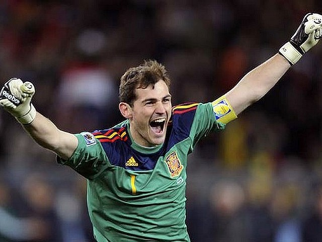 World Cup 2010 Champion Iker Casillas celebrates the Winning Goal - The Spain's goalkeeper Iker Casillas celebrates after the midfielder Andres Iniesta scored the winning goal during the FIFA World Cup 2010 Champion final match between Spain and the Netherlands at the Soccer City stadium in Johannesburg, South Africa (July 11, 2020). - , World, Cup, 2010, Champion, Iker, Casillas, winning, goal, goals, sport, sports, tournament, tournaments, match, matches, soccer, soccers, football, footballs, goalkeeper, goalkeepers, midfielder, Andres, Iniesta, FIFA, Spain, Nethelands, Soccer, City, stadium, stadiums, Johannesburg, South, Africa - The Spain's goalkeeper Iker Casillas celebrates after the midfielder Andres Iniesta scored the winning goal during the FIFA World Cup 2010 Champion final match between Spain and the Netherlands at the Soccer City stadium in Johannesburg, South Africa (July 11, 2020). Solve free online World Cup 2010 Champion Iker Casillas celebrates the Winning Goal puzzle games or send World Cup 2010 Champion Iker Casillas celebrates the Winning Goal puzzle game greeting ecards  from puzzles-games.eu.. World Cup 2010 Champion Iker Casillas celebrates the Winning Goal puzzle, puzzles, puzzles games, puzzles-games.eu, puzzle games, online puzzle games, free puzzle games, free online puzzle games, World Cup 2010 Champion Iker Casillas celebrates the Winning Goal free puzzle game, World Cup 2010 Champion Iker Casillas celebrates the Winning Goal online puzzle game, jigsaw puzzles, World Cup 2010 Champion Iker Casillas celebrates the Winning Goal jigsaw puzzle, jigsaw puzzle games, jigsaw puzzles games, World Cup 2010 Champion Iker Casillas celebrates the Winning Goal puzzle game ecard, puzzles games ecards, World Cup 2010 Champion Iker Casillas celebrates the Winning Goal puzzle game greeting ecard