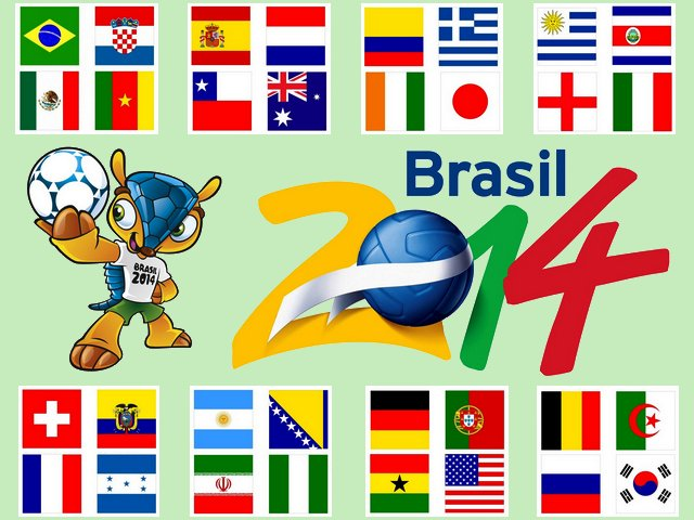 2014 FIFA World Cup Flags of Teams in Groups Wallpaper - Wallpaper with the flags of the 32 nations, which will participate in the 2014 FIFA World Cup. The biggest football event in the world will take place in Brazil from 12 June till 13 July, 2014. This is the second time that Brazil has hosted the FIFA World Cup finals since 1950. After the matches for qualifications between June 2011 and November 2013, 32 teams were qualified for the final tournament, grouped into eight groups, with four teams in each. A total of 64 matches will be played in 12 cities across Brazil. - , 2014, FIFA, World, Cup, flags, flag, teams, team, groups, group, wallpaper, wallpapers, cartoon, cartoons, sport, sport, show, shows, nations, nation, football, event, events, world, place, places, Brazil, June, July, finals, final, 1950, matches, match, qualifications, qualification, 2011, November, 2013, tournament, tournaments, cities, city - Wallpaper with the flags of the 32 nations, which will participate in the 2014 FIFA World Cup. The biggest football event in the world will take place in Brazil from 12 June till 13 July, 2014. This is the second time that Brazil has hosted the FIFA World Cup finals since 1950. After the matches for qualifications between June 2011 and November 2013, 32 teams were qualified for the final tournament, grouped into eight groups, with four teams in each. A total of 64 matches will be played in 12 cities across Brazil. Solve free online 2014 FIFA World Cup Flags of Teams in Groups Wallpaper puzzle games or send 2014 FIFA World Cup Flags of Teams in Groups Wallpaper puzzle game greeting ecards  from puzzles-games.eu.. 2014 FIFA World Cup Flags of Teams in Groups Wallpaper puzzle, puzzles, puzzles games, puzzles-games.eu, puzzle games, online puzzle games, free puzzle games, free online puzzle games, 2014 FIFA World Cup Flags of Teams in Groups Wallpaper free puzzle game, 2014 FIFA World Cup Flags of Teams in Groups Wallpaper online puzzle game, jigsaw puzzles, 2014 FIFA World Cup Flags of Teams in Groups Wallpaper jigsaw puzzle, jigsaw puzzle games, jigsaw puzzles games, 2014 FIFA World Cup Flags of Teams in Groups Wallpaper puzzle game ecard, puzzles games ecards, 2014 FIFA World Cup Flags of Teams in Groups Wallpaper puzzle game greeting ecard