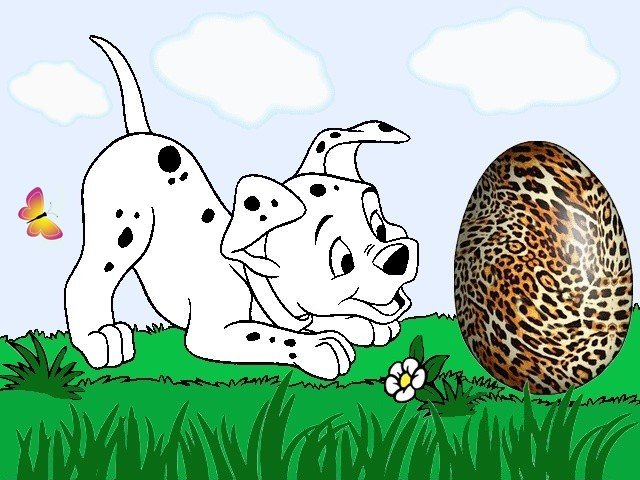 Disney Dalmatian and Easter Egg Wallpaper - A beautiful wallpaper with puppy Dalmatian, which rejoices the Easter Egg, the amusing hero from the American animated, film produced by Walt Disney, based on the novel 'The Hundred and One Dalmatians' by Dodie Smith (1961). - , Disney, Dalmatian, Dalmatians, Easter, egg, eggs, wallpaper, cartoon, cartoons, holidays, holiday, feast, feasts, nature, natures, season, seasons, beautiful, puppy, puppies, amusing, heroes, hero, American, animated, film, films, Walt, novel, novels, Hundred, One, Dodie, Smith, 1961 - A beautiful wallpaper with puppy Dalmatian, which rejoices the Easter Egg, the amusing hero from the American animated, film produced by Walt Disney, based on the novel 'The Hundred and One Dalmatians' by Dodie Smith (1961). Solve free online Disney Dalmatian and Easter Egg Wallpaper puzzle games or send Disney Dalmatian and Easter Egg Wallpaper puzzle game greeting ecards  from puzzles-games.eu.. Disney Dalmatian and Easter Egg Wallpaper puzzle, puzzles, puzzles games, puzzles-games.eu, puzzle games, online puzzle games, free puzzle games, free online puzzle games, Disney Dalmatian and Easter Egg Wallpaper free puzzle game, Disney Dalmatian and Easter Egg Wallpaper online puzzle game, jigsaw puzzles, Disney Dalmatian and Easter Egg Wallpaper jigsaw puzzle, jigsaw puzzle games, jigsaw puzzles games, Disney Dalmatian and Easter Egg Wallpaper puzzle game ecard, puzzles games ecards, Disney Dalmatian and Easter Egg Wallpaper puzzle game greeting ecard