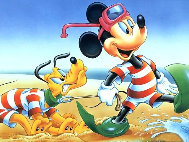 Disney Summer Mickey Mouse And Pluto Wallpaper