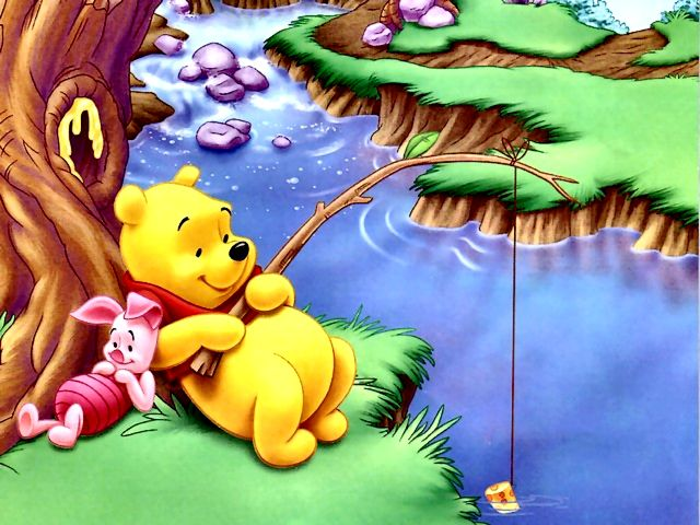 Disney Summer Winnie The Pooh And Piglet At Fishing Wallpaper