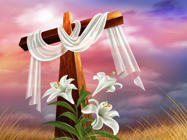 Easter Cross Wallpaper - Wallpaper with traditionally adorned Easter cross, an icon and  holy sign of Christianity. The cross, without the figure of Jesus Christ, is a symbol of the victory of life over death. The white cloth, that replaces the black veil on the Easter morning, reminds the Christ' empty tomb and the resurrection. The cross is decorated with white lilies in honor of Jesus' return to life. - , Easter, cross, crosses, wallpaper, wallpapers, cartoon, cartoons, holidays, holiday, traditionally, adorned, icon, icons, holy, sign, signs, Christianit, figure, figures, Jesus, Christ, symbol, symbols, victory, victories, life, death, white, cloth, clothes, empty, tomb, tombs, resurrection, lilies, lily, honor, return, returns - Wallpaper with traditionally adorned Easter cross, an icon and  holy sign of Christianity. The cross, without the figure of Jesus Christ, is a symbol of the victory of life over death. The white cloth, that replaces the black veil on the Easter morning, reminds the Christ' empty tomb and the resurrection. The cross is decorated with white lilies in honor of Jesus' return to life. Solve free online Easter Cross Wallpaper puzzle games or send Easter Cross Wallpaper puzzle game greeting ecards  from puzzles-games.eu.. Easter Cross Wallpaper puzzle, puzzles, puzzles games, puzzles-games.eu, puzzle games, online puzzle games, free puzzle games, free online puzzle games, Easter Cross Wallpaper free puzzle game, Easter Cross Wallpaper online puzzle game, jigsaw puzzles, Easter Cross Wallpaper jigsaw puzzle, jigsaw puzzle games, jigsaw puzzles games, Easter Cross Wallpaper puzzle game ecard, puzzles games ecards, Easter Cross Wallpaper puzzle game greeting ecard