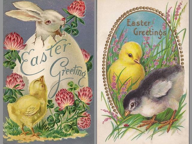 Easter Greetings Bunny and Chickens Vintage Postcards - Beautiful vintage postcards with 'Easter Greetings' from 1910's, depicting a bunny which pops up from a large Easter egg  with sprig of clover for luck and fluffy chickens among pink flowers. The Easter Bunny is a fictional character, which is loved and appreciated by kids all over the world nearly as much as Father Christmas (Santa Claus), popular with giving gifts. The newly hatched chickens are symbol of the beginning of the new life and the arrival of spring. - , Easter, greetings, greeting, bunny, bunnies, chickens, chicken, vintage, postcards, postcard, cartoons, cartoon, holidays, holiday, feast, feasts, beautiful, 1910, largr, egg, eggs, sprig, sprigs, clover, clovers, luck, fluffy, pink, flowers, flower, fictional, character, characters, kids, kid, world, Father, Christmas, Santa, Claus, popular, gifts, gift, newly, hatched, symbol, symbols, beginning, new, life, arrival, spring - Beautiful vintage postcards with 'Easter Greetings' from 1910's, depicting a bunny which pops up from a large Easter egg  with sprig of clover for luck and fluffy chickens among pink flowers. The Easter Bunny is a fictional character, which is loved and appreciated by kids all over the world nearly as much as Father Christmas (Santa Claus), popular with giving gifts. The newly hatched chickens are symbol of the beginning of the new life and the arrival of spring. Solve free online Easter Greetings Bunny and Chickens Vintage Postcards puzzle games or send Easter Greetings Bunny and Chickens Vintage Postcards puzzle game greeting ecards  from puzzles-games.eu.. Easter Greetings Bunny and Chickens Vintage Postcards puzzle, puzzles, puzzles games, puzzles-games.eu, puzzle games, online puzzle games, free puzzle games, free online puzzle games, Easter Greetings Bunny and Chickens Vintage Postcards free puzzle game, Easter Greetings Bunny and Chickens Vintage Postcards online puzzle game, jigsaw puzzles, Easter Greetings Bunny and Chickens Vintage Postcards jigsaw puzzle, jigsaw puzzle games, jigsaw puzzles games, Easter Greetings Bunny and Chickens Vintage Postcards puzzle game ecard, puzzles games ecards, Easter Greetings Bunny and Chickens Vintage Postcards puzzle game greeting ecard