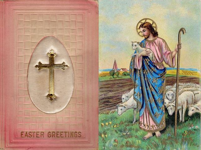 Easter Greetings Golden Cross and Jesus Good Shepherd Postcards - Two old postcards with 'Easter greetings' from 1910's, on a religious theme, with golden cross, the Christian symbol of the crucifix, depicted on background of a big egg and a satin fabric and the image of Jesus as a good shepherd among flock of sheep, with lambkin and a staff in hands. Easter egg is a symbol of the empty tomb, after Jesus' resurrection from the dead. Jesus is the good shepherd to His believers, just as the shepherds are for theirs livestock. The shepherd cares for his flock day and night and ready to defend his sheep from harm. - , Easter, greetings, greeting, golden, cross, Jesus, good, shepherd, shepherds, postcards, postcard, cartoon, cartoons, holiday, holidays, old, 1910, religious, theme, themes, Christian, symbol, symbols, crucifix, background, backgrounds, egg, eggs, satin, fabric, fabrics, image, images, flock, flocks, sheep, sheeps, lambkin, staff, hands, hand, empty, tomb, tombs, resurrection, dead, believers, believer, livestock, day, days, night, nights, harm - Two old postcards with 'Easter greetings' from 1910's, on a religious theme, with golden cross, the Christian symbol of the crucifix, depicted on background of a big egg and a satin fabric and the image of Jesus as a good shepherd among flock of sheep, with lambkin and a staff in hands. Easter egg is a symbol of the empty tomb, after Jesus' resurrection from the dead. Jesus is the good shepherd to His believers, just as the shepherds are for theirs livestock. The shepherd cares for his flock day and night and ready to defend his sheep from harm. Подреждайте безплатни онлайн Easter Greetings Golden Cross and Jesus Good Shepherd Postcards пъзел игри или изпратете Easter Greetings Golden Cross and Jesus Good Shepherd Postcards пъзел игра поздравителна картичка  от puzzles-games.eu.. Easter Greetings Golden Cross and Jesus Good Shepherd Postcards пъзел, пъзели, пъзели игри, puzzles-games.eu, пъзел игри, online пъзел игри, free пъзел игри, free online пъзел игри, Easter Greetings Golden Cross and Jesus Good Shepherd Postcards free пъзел игра, Easter Greetings Golden Cross and Jesus Good Shepherd Postcards online пъзел игра, jigsaw puzzles, Easter Greetings Golden Cross and Jesus Good Shepherd Postcards jigsaw puzzle, jigsaw puzzle games, jigsaw puzzles games, Easter Greetings Golden Cross and Jesus Good Shepherd Postcards пъзел игра картичка, пъзели игри картички, Easter Greetings Golden Cross and Jesus Good Shepherd Postcards пъзел игра поздравителна картичка