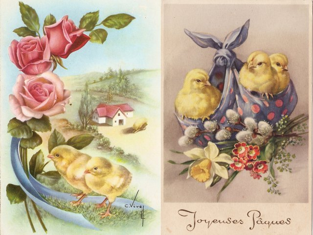 Easter Greetings Spanish and French Antique Postcards - Beautiful antique Spanish and French Easter greetings postcards from 1940s, with illustrations of pink roses, a nice landscape with adorable fluffy yellow chickens and pretty spring flowers with chicks, peeping from a bundle of purple table-cloth. The baby chickens which are born in the spring and the eggs, have been a symbol of spring and the new life since ancient times. Pink roses symbolize joyfulness, gratitude, grace and elegance. Purple has long been the colour of royalty. - , Easter, greetings, greeting, Spanish, French, antique, postcards, postcard, cartoon, cartoons, holiday, holidays, beautiful, 1940s, illustrations, illustration, pink, roses, rose, landscape, landscapes, adorable, fluffy, yellow, chickens, chicken, pretty, spring, flowers, flower, chicks, chick, bundle, bundles, purple, table, cloth, eggs, egg, symbols, symbol, new, life, ancient, times, time, joyfulness, gratitude, grace, elegance, colour, royalty - Beautiful antique Spanish and French Easter greetings postcards from 1940s, with illustrations of pink roses, a nice landscape with adorable fluffy yellow chickens and pretty spring flowers with chicks, peeping from a bundle of purple table-cloth. The baby chickens which are born in the spring and the eggs, have been a symbol of spring and the new life since ancient times. Pink roses symbolize joyfulness, gratitude, grace and elegance. Purple has long been the colour of royalty. Solve free online Easter Greetings Spanish and French Antique Postcards puzzle games or send Easter Greetings Spanish and French Antique Postcards puzzle game greeting ecards  from puzzles-games.eu.. Easter Greetings Spanish and French Antique Postcards puzzle, puzzles, puzzles games, puzzles-games.eu, puzzle games, online puzzle games, free puzzle games, free online puzzle games, Easter Greetings Spanish and French Antique Postcards free puzzle game, Easter Greetings Spanish and French Antique Postcards online puzzle game, jigsaw puzzles, Easter Greetings Spanish and French Antique Postcards jigsaw puzzle, jigsaw puzzle games, jigsaw puzzles games, Easter Greetings Spanish and French Antique Postcards puzzle game ecard, puzzles games ecards, Easter Greetings Spanish and French Antique Postcards puzzle game greeting ecard