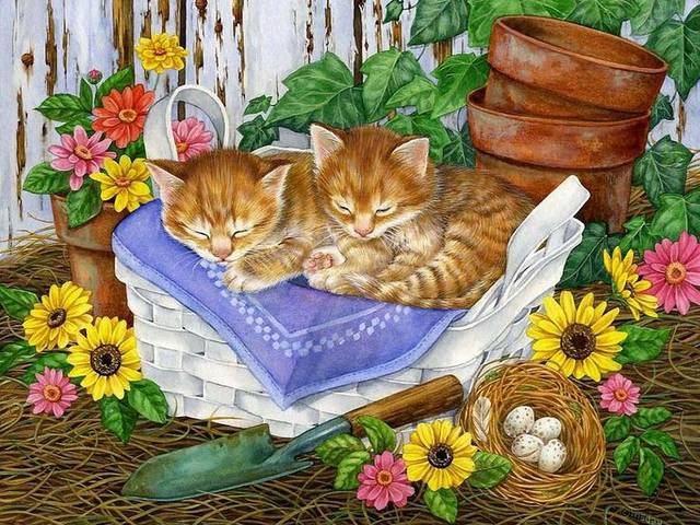 Easter Kittens Illustration by Jane Maday - Adorable kittens sleeping on a Easter basket in sunny springtime day, painted by Jane Maday. Jane Maday was born in a small fishing village in England in 1965. Her family immigrated to the United States when she was a young child.<br /> Jane Maday began her career at 14 years of age, as a scientific illustrator for the University of Florida. After receiving a Bachelor's degree from the Ringling College of Art and Design, she was recruited by Hallmark Cards, Inc, as a greeting card illustrator. - , Easter, kittens, kitten, illustration, illustrations, Jane, Maday, cartoon, cartoons, art, arts, adorable, basket, basket, sunny, springtime, day, days, fishing, village, villages, England, family, USA, young, child, children, career, scientific, illustrator, University, Florida, bachelor, degree, Ringling, College, Design, Hallmark, Cards, Inc, greeting, card, cards - Adorable kittens sleeping on a Easter basket in sunny springtime day, painted by Jane Maday. Jane Maday was born in a small fishing village in England in 1965. Her family immigrated to the United States when she was a young child.<br /> Jane Maday began her career at 14 years of age, as a scientific illustrator for the University of Florida. After receiving a Bachelor's degree from the Ringling College of Art and Design, she was recruited by Hallmark Cards, Inc, as a greeting card illustrator. Solve free online Easter Kittens Illustration by Jane Maday puzzle games or send Easter Kittens Illustration by Jane Maday puzzle game greeting ecards  from puzzles-games.eu.. Easter Kittens Illustration by Jane Maday puzzle, puzzles, puzzles games, puzzles-games.eu, puzzle games, online puzzle games, free puzzle games, free online puzzle games, Easter Kittens Illustration by Jane Maday free puzzle game, Easter Kittens Illustration by Jane Maday online puzzle game, jigsaw puzzles, Easter Kittens Illustration by Jane Maday jigsaw puzzle, jigsaw puzzle games, jigsaw puzzles games, Easter Kittens Illustration by Jane Maday puzzle game ecard, puzzles games ecards, Easter Kittens Illustration by Jane Maday puzzle game greeting ecard