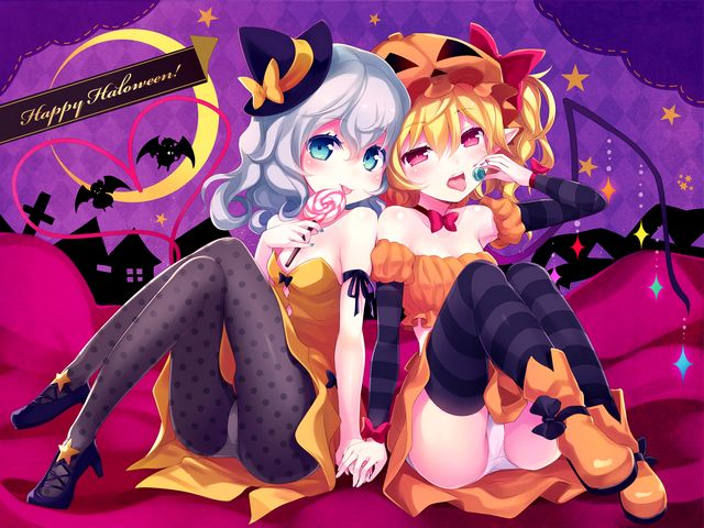 Halloween Flandre Scarlet and  Koishi Komeiji from Touhou by Minamura Haruki Wallpaper - Wallpaper for Halloween with Flandre Scarlet and Koishi Komeiji from the Japanese Touhou series 'Embodiment of Scarlet Devil', illustrated by the talented artist Minamura Haruki. Flandre Scarlet is the younger sister of Remilia Scarlet, with incredible physical and destructive power, immunized to Holy things, a vampire who has lived for over 495 years. Koishi Komeiji is younger sister of Satori Komeiji and has an ability to read and manipulate people's subconscious and spends much of her time wandering the world aimlessly. Due to the fact that being stronger than their siblings, Koishi and Flandre are isolated as extra-bosses by their sisters Satori Komeiji and Remilia Scarlet, who are owners of the 'Scarlet Devil Mansion'. - , Halloween, Flandre, Scarlet, Koishi, Komeiji, Touhou, Minamura, Haruki, wallpaper, wallpapers, cartoon, cartoons, holiday, holidays, Japanese, series, serie, embodiment, embodiments, devil, devils, talented, artist, artists, younger, sister, sisters, Remilia, incredible, physical, destructive, power, powers, Holy, things, thing, vampire, vampires, years, year, Satori, ability, abilities, subconscious, world, aimlessly, fact, facts, siblings, sibling, bosses, boss, owners, owner, Mansion - Wallpaper for Halloween with Flandre Scarlet and Koishi Komeiji from the Japanese Touhou series 'Embodiment of Scarlet Devil', illustrated by the talented artist Minamura Haruki. Flandre Scarlet is the younger sister of Remilia Scarlet, with incredible physical and destructive power, immunized to Holy things, a vampire who has lived for over 495 years. Koishi Komeiji is younger sister of Satori Komeiji and has an ability to read and manipulate people's subconscious and spends much of her time wandering the world aimlessly. Due to the fact that being stronger than their siblings, Koishi and Flandre are isolated as extra-bosses by their sisters Satori Komeiji and Remilia Scarlet, who are owners of the 'Scarlet Devil Mansion'. Solve free online Halloween Flandre Scarlet and  Koishi Komeiji from Touhou by Minamura Haruki Wallpaper puzzle games or send Halloween Flandre Scarlet and  Koishi Komeiji from Touhou by Minamura Haruki Wallpaper puzzle game greeting ecards  from puzzles-games.eu.. Halloween Flandre Scarlet and  Koishi Komeiji from Touhou by Minamura Haruki Wallpaper puzzle, puzzles, puzzles games, puzzles-games.eu, puzzle games, online puzzle games, free puzzle games, free online puzzle games, Halloween Flandre Scarlet and  Koishi Komeiji from Touhou by Minamura Haruki Wallpaper free puzzle game, Halloween Flandre Scarlet and  Koishi Komeiji from Touhou by Minamura Haruki Wallpaper online puzzle game, jigsaw puzzles, Halloween Flandre Scarlet and  Koishi Komeiji from Touhou by Minamura Haruki Wallpaper jigsaw puzzle, jigsaw puzzle games, jigsaw puzzles games, Halloween Flandre Scarlet and  Koishi Komeiji from Touhou by Minamura Haruki Wallpaper puzzle game ecard, puzzles games ecards, Halloween Flandre Scarlet and  Koishi Komeiji from Touhou by Minamura Haruki Wallpaper puzzle game greeting ecard