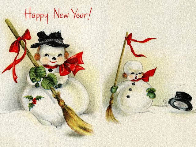 Happy New Year Vintage Greeting Card - Beautiful vintage greeting card for 'Happy New Year', depicting an adorable snowman with a straw broom, wearing a black hat, orange ear muffs, green mittens and a red ribbon, tied at the neck. The second image of the snowman is from the inside of the card, with wishes for a happy New Year's Day and a lot of happy days all through the New Year, too. - , Happy, New, Year, vintage, greeting, card, cards, cartoon, cartoons, holiday, holidays, beautiful, adorable, snowman, snowmen, straw, broom, brooms, black, hat, hats, orange, ear, muffs, green, mittens, red, ribbon, ribbons, neck, necks, image, images, inside, wishes, wish, day, days - Beautiful vintage greeting card for 'Happy New Year', depicting an adorable snowman with a straw broom, wearing a black hat, orange ear muffs, green mittens and a red ribbon, tied at the neck. The second image of the snowman is from the inside of the card, with wishes for a happy New Year's Day and a lot of happy days all through the New Year, too. Solve free online Happy New Year Vintage Greeting Card puzzle games or send Happy New Year Vintage Greeting Card puzzle game greeting ecards  from puzzles-games.eu.. Happy New Year Vintage Greeting Card puzzle, puzzles, puzzles games, puzzles-games.eu, puzzle games, online puzzle games, free puzzle games, free online puzzle games, Happy New Year Vintage Greeting Card free puzzle game, Happy New Year Vintage Greeting Card online puzzle game, jigsaw puzzles, Happy New Year Vintage Greeting Card jigsaw puzzle, jigsaw puzzle games, jigsaw puzzles games, Happy New Year Vintage Greeting Card puzzle game ecard, puzzles games ecards, Happy New Year Vintage Greeting Card puzzle game greeting ecard