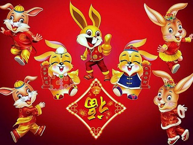 joyous rabbits chinese new year wallpaper wallpaper for the chinese new year with joyous rabbits