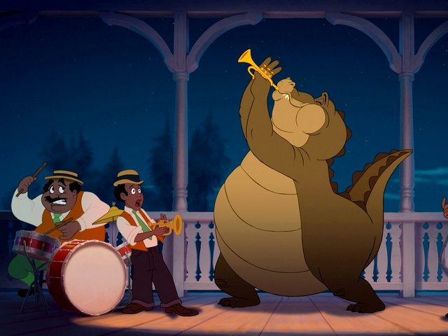 Louis with-Jazz-Band Princess and the Frog - Louis, an american alligator, whose dream is to become a human, playing trumpet on stage with a jazz band, in the American animated musical film 'The Princess and the Frog', produced by Walt Disney Animation Studios (2009). - , Louis, jazz, band, bands, princess, princesses, frog, frogs, cartoons, cartoon, film, films, movie, movies, american, alligator, alligators, dream, dreams, human, humans, trumpet, trumpets, stage, stages, American, animated, musical, Walt, Disney, Animation, Studios, studio, 2009 - Louis, an american alligator, whose dream is to become a human, playing trumpet on stage with a jazz band, in the American animated musical film 'The Princess and the Frog', produced by Walt Disney Animation Studios (2009). Solve free online Louis with-Jazz-Band Princess and the Frog puzzle games or send Louis with-Jazz-Band Princess and the Frog puzzle game greeting ecards  from puzzles-games.eu.. Louis with-Jazz-Band Princess and the Frog puzzle, puzzles, puzzles games, puzzles-games.eu, puzzle games, online puzzle games, free puzzle games, free online puzzle games, Louis with-Jazz-Band Princess and the Frog free puzzle game, Louis with-Jazz-Band Princess and the Frog online puzzle game, jigsaw puzzles, Louis with-Jazz-Band Princess and the Frog jigsaw puzzle, jigsaw puzzle games, jigsaw puzzles games, Louis with-Jazz-Band Princess and the Frog puzzle game ecard, puzzles games ecards, Louis with-Jazz-Band Princess and the Frog puzzle game greeting ecard