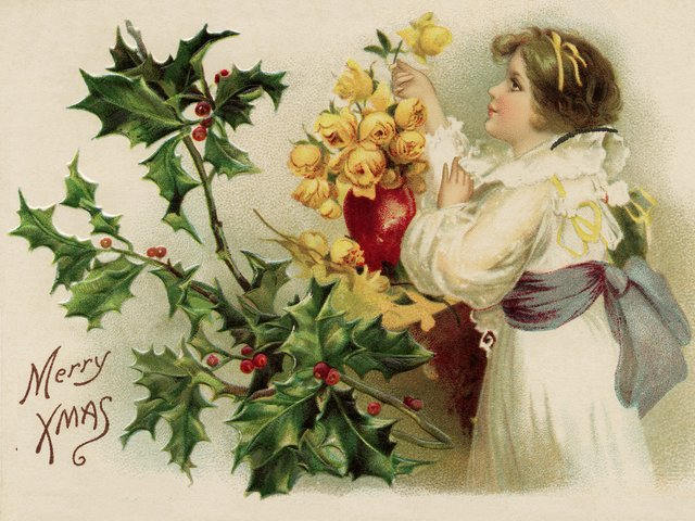 Merry Xmas Vintage Christmas Postcard - Beautiful vintage postcard with greeting 'Merry Xmas', depicting a girl in a pretty white dress and blue sash, who admires the bouquet of yellow roses in a red vase and a holly branch with red berries on the left side, as a symbol of the Christmas. - , Merry, Xmas, vintage, Christmas, postcard, postcards, cartoon, cartoons, holidays, holiday, beautiful, greeting, greetings, girl, girls, pretty, white, dress, blue, sash, bouquet, bouquets, yellow, roses, rose, red, vase, holly, branch, branches, berries, berry, side, symbol, symbols - Beautiful vintage postcard with greeting 'Merry Xmas', depicting a girl in a pretty white dress and blue sash, who admires the bouquet of yellow roses in a red vase and a holly branch with red berries on the left side, as a symbol of the Christmas. Solve free online Merry Xmas Vintage Christmas Postcard puzzle games or send Merry Xmas Vintage Christmas Postcard puzzle game greeting ecards  from puzzles-games.eu.. Merry Xmas Vintage Christmas Postcard puzzle, puzzles, puzzles games, puzzles-games.eu, puzzle games, online puzzle games, free puzzle games, free online puzzle games, Merry Xmas Vintage Christmas Postcard free puzzle game, Merry Xmas Vintage Christmas Postcard online puzzle game, jigsaw puzzles, Merry Xmas Vintage Christmas Postcard jigsaw puzzle, jigsaw puzzle games, jigsaw puzzles games, Merry Xmas Vintage Christmas Postcard puzzle game ecard, puzzles games ecards, Merry Xmas Vintage Christmas Postcard puzzle game greeting ecard