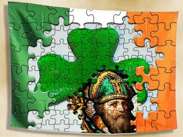 Saint Patricks Flag Photoshop by Lucianomorelli - Picture of a flag with an image of Saint Patrick on a background of shamrock, a complicated photoshop by Lucianomorelli from the contest's gallery on St. Patrick's theme by 'Freaking News'.<br /> The Saint Patrick's Day is a national holiday in Ireland, celebrated on the 17th of March. The famous Irishman who is associated with St. Patrick's Day was born with the name of Maewyn in Wales and was sold into slavery by vandals. After he managed to run away to the Gaul monastery, he began with studies of the Christianity and his mission for thirty years was to make the whole of Ireland a Christian country. One of the symbols associated with this holiday is a shamrock with three leaves, which symbolizes the Trinity of the Father, Son and Holy Spirit, faith, hope and charity, or past, present and future. - , Saint, St., Patricks, Patrick, flag, flags, photoshop, Lucianomorelli, cartoon, cartoons, holiday, holidays, picture, pictures, image, tmages, background, backgrounds, shamrock, shamrocks, complicated, contest, contests, gallery, galleries, theme, themes, Freaking, News, day, days, national, Ireland, 17th, March, famous, Irishman, Maewyn, Wales, slavery, vandals, vandal, Gaul, monastery, Christianity, mission, missions, Christian, country, countries, symbols, symbol, leaves, leaf, Trinity, Father, Son, Holy, Spirit, faith, hope, charity, past, present, future - Picture of a flag with an image of Saint Patrick on a background of shamrock, a complicated photoshop by Lucianomorelli from the contest's gallery on St. Patrick's theme by 'Freaking News'.<br /> The Saint Patrick's Day is a national holiday in Ireland, celebrated on the 17th of March. The famous Irishman who is associated with St. Patrick's Day was born with the name of Maewyn in Wales and was sold into slavery by vandals. After he managed to run away to the Gaul monastery, he began with studies of the Christianity and his mission for thirty years was to make the whole of Ireland a Christian country. One of the symbols associated with this holiday is a shamrock with three leaves, which symbolizes the Trinity of the Father, Son and Holy Spirit, faith, hope and charity, or past, present and future. Solve free online Saint Patricks Flag Photoshop by Lucianomorelli puzzle games or send Saint Patricks Flag Photoshop by Lucianomorelli puzzle game greeting ecards  from puzzles-games.eu.. Saint Patricks Flag Photoshop by Lucianomorelli puzzle, puzzles, puzzles games, puzzles-games.eu, puzzle games, online puzzle games, free puzzle games, free online puzzle games, Saint Patricks Flag Photoshop by Lucianomorelli free puzzle game, Saint Patricks Flag Photoshop by Lucianomorelli online puzzle game, jigsaw puzzles, Saint Patricks Flag Photoshop by Lucianomorelli jigsaw puzzle, jigsaw puzzle games, jigsaw puzzles games, Saint Patricks Flag Photoshop by Lucianomorelli puzzle game ecard, puzzles games ecards, Saint Patricks Flag Photoshop by Lucianomorelli puzzle game greeting ecard