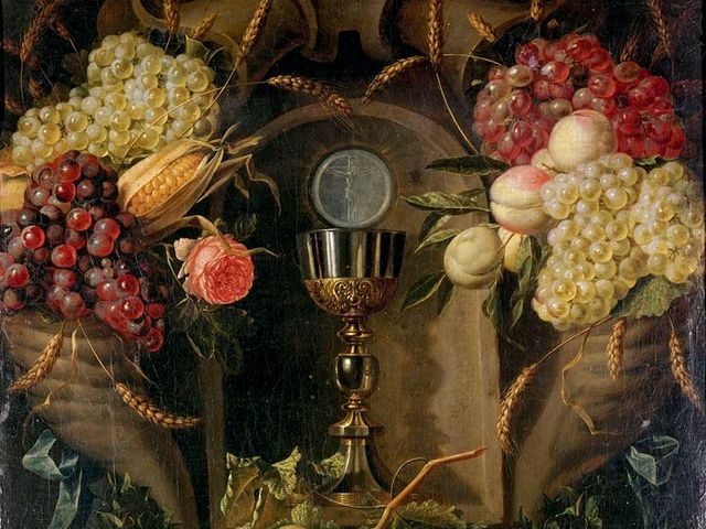 Allegory of the Eucharist by Alexander Coosemans Fragment - A fragment from the 'Allegory of the Eucharist', an artwork on Biblical theme by Alexander Coosemans (oil on canvas, Museum of Tesse,  Le Mans, France). Alexander Coosemans (1627-1689, Antwerp) was a Flemish Baroque painter, specialized in still lifes, a pupil of Jan Davidsz de Heem, the leading still life painter in the Netherlands.<br /> In this particular work, the artist incorporates a sacred subject into a still-life, where the each item has a symbolic meaning. The abundance of food symbolizes the bounty of Creation and the Providence of God. The cornucopia on the top left contains corn which symbolized the Eucharist and a rose for a religious love. The cornucopia on the right, contains quinces and peaches, which in addition to the wheat and grapes, are symbols of plenty, of fertility and marriage, as well as of the immortality. <br /> Placed at a place of honor at the center of the fruits of the earth, the Eucharist is shown with a translucent depiction of the crucified Christ. The artist here recalls Jesus' sacrifice on Calvary Christ and the translucence of the image testifies to the real presence of Christ in the Eucharistic, which is the source of abundant and a food for the soul life for those who are able realize that Jesus truly exists. - , allegory, allegories, Eucharist, Alexander, Coosemans, fragment, art, arts, artwork, artworks, Biblical, theme, oil, canvas, museum, Tesse, Le, Mans, France, 1627, 1689, Antwerp, Flemish, Baroque, painter, painters, still-lifes, pupil, Jan, Davidsz, Heem, Netherlands, work, artist, artists, sacred, subject, item, symbolic, meaning, abundance, food, bounty, Creation, Providence, God, cornucopia, top, left, corn, rose, religious, love, right, quinces, peaches, wheat, grapes, symbols, plenty, fertility, marriage, immortality, place, honor, center, fruits, earth, translucent, depiction, crucified, Christ, sacrifice, Calvary, translucence, image, presence, source, abundant, food, soul, life - A fragment from the 'Allegory of the Eucharist', an artwork on Biblical theme by Alexander Coosemans (oil on canvas, Museum of Tesse,  Le Mans, France). Alexander Coosemans (1627-1689, Antwerp) was a Flemish Baroque painter, specialized in still lifes, a pupil of Jan Davidsz de Heem, the leading still life painter in the Netherlands.<br /> In this particular work, the artist incorporates a sacred subject into a still-life, where the each item has a symbolic meaning. The abundance of food symbolizes the bounty of Creation and the Providence of God. The cornucopia on the top left contains corn which symbolized the Eucharist and a rose for a religious love. The cornucopia on the right, contains quinces and peaches, which in addition to the wheat and grapes, are symbols of plenty, of fertility and marriage, as well as of the immortality. <br /> Placed at a place of honor at the center of the fruits of the earth, the Eucharist is shown with a translucent depiction of the crucified Christ. The artist here recalls Jesus' sacrifice on Calvary Christ and the translucence of the image testifies to the real presence of Christ in the Eucharistic, which is the source of abundant and a food for the soul life for those who are able realize that Jesus truly exists. Solve free online Allegory of the Eucharist by Alexander Coosemans Fragment puzzle games or send Allegory of the Eucharist by Alexander Coosemans Fragment puzzle game greeting ecards  from puzzles-games.eu.. Allegory of the Eucharist by Alexander Coosemans Fragment puzzle, puzzles, puzzles games, puzzles-games.eu, puzzle games, online puzzle games, free puzzle games, free online puzzle games, Allegory of the Eucharist by Alexander Coosemans Fragment free puzzle game, Allegory of the Eucharist by Alexander Coosemans Fragment online puzzle game, jigsaw puzzles, Allegory of the Eucharist by Alexander Coosemans Fragment jigsaw puzzle, jigsaw puzzle games, jigsaw puzzles games, Allegory of the Eucharist by Alexander Coosemans Fragment puzzle game ecard, puzzles games ecards, Allegory of the Eucharist by Alexander Coosemans Fragment puzzle game greeting ecard