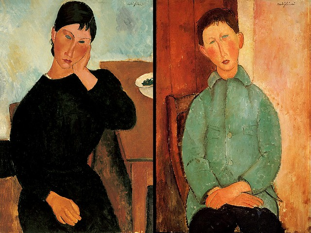 Amadeo Modigliani Elvira resting at a Table and Boy in a Blue Shirt - Portraits painted by Amadeo Modigliani 'Elvira Resting at a Table' (1919, oil on canvas, Saint Louis Art Museum, Missouri, USA), an elegant and aloof young woman with exotic beauty and 'Boy in a Blue Shirt' (1918, oil on canvas, private collection). - , Amadeo, Modigliani, Elvira, table, tables, boy, boys, blue, shirt, shirts, art, arts, painter, painters, artist, artists, sculptor, sculptors, Expressionist, Expressionists, portrait, portraits, 1919, oil, canvas, canvases, Saint, Louis, Museum, museums, Missouri, USA, elegant, aloof, young, woman, exotic, beauty, beauties, 1918, private, collection, collections - Portraits painted by Amadeo Modigliani 'Elvira Resting at a Table' (1919, oil on canvas, Saint Louis Art Museum, Missouri, USA), an elegant and aloof young woman with exotic beauty and 'Boy in a Blue Shirt' (1918, oil on canvas, private collection). Solve free online Amadeo Modigliani Elvira resting at a Table and Boy in a Blue Shirt puzzle games or send Amadeo Modigliani Elvira resting at a Table and Boy in a Blue Shirt puzzle game greeting ecards  from puzzles-games.eu.. Amadeo Modigliani Elvira resting at a Table and Boy in a Blue Shirt puzzle, puzzles, puzzles games, puzzles-games.eu, puzzle games, online puzzle games, free puzzle games, free online puzzle games, Amadeo Modigliani Elvira resting at a Table and Boy in a Blue Shirt free puzzle game, Amadeo Modigliani Elvira resting at a Table and Boy in a Blue Shirt online puzzle game, jigsaw puzzles, Amadeo Modigliani Elvira resting at a Table and Boy in a Blue Shirt jigsaw puzzle, jigsaw puzzle games, jigsaw puzzles games, Amadeo Modigliani Elvira resting at a Table and Boy in a Blue Shirt puzzle game ecard, puzzles games ecards, Amadeo Modigliani Elvira resting at a Table and Boy in a Blue Shirt puzzle game greeting ecard