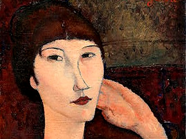 Amedeo Modigliani Adrienne - A fragment of an expressive  portrait of a woman with sad and full of wistful eyes 'Adrienne (Woman with Bangs)' (1917, oil on canvas, The National Gallery of Art, Washington, USA), one among the famous and best paintings by Amedeo Modigliani. - , Amedeo, Modigliani, Adrienne, art, arts, painter, painters, artist, artists, sculptor, sculptors, Expressionist, Expressionists, fragment, fragments, expressive, portrait, portraits, woman, women, sad, full, wistful, eyes, eye, bangs, 1bC - A fragment of an expressive  portrait of a woman with sad and full of wistful eyes 'Adrienne (Woman with Bangs)' (1917, oil on canvas, The National Gallery of Art, Washington, USA), one among the famous and best paintings by Amedeo Modigliani. Solve free online Amedeo Modigliani Adrienne puzzle games or send Amedeo Modigliani Adrienne puzzle game greeting ecards  from puzzles-games.eu.. Amedeo Modigliani Adrienne puzzle, puzzles, puzzles games, puzzles-games.eu, puzzle games, online puzzle games, free puzzle games, free online puzzle games, Amedeo Modigliani Adrienne free puzzle game, Amedeo Modigliani Adrienne online puzzle game, jigsaw puzzles, Amedeo Modigliani Adrienne jigsaw puzzle, jigsaw puzzle games, jigsaw puzzles games, Amedeo Modigliani Adrienne puzzle game ecard, puzzles games ecards, Amedeo Modigliani Adrienne puzzle game greeting ecard