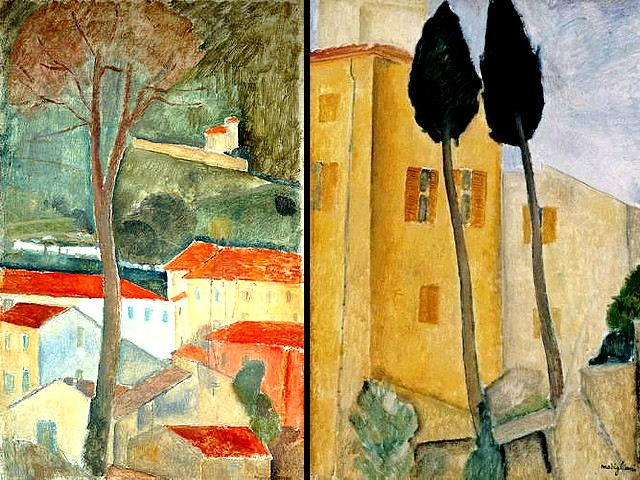 Amedeo Modigliani Landscape at Cagnes and Cypress Trees and Houses - 'Landscape at Cagnes' (1919, oil on canvas, private collection), one of the only four landscapes of his career, made in Southern France and 'Cypress Trees and Houses' (1919, 'Midday Landscape', oil on canvas, Barnes Foundation Merion), one of the most famous works by Amedeo Modigliani in a genre that was not interested him. - , Amedeo, Modigliani, landscape, landscapes, Cagnes, cypress, trees, tree, houses, house, art, arts, painter, painters, artist, artists, sculptor, sculptors, Expressionist, Expressionists, 1919, oil, canvas, canvases, private, collection, collections, career, careers, Southern, France, midday, Barnes, Foundation, foundations, Merion, Philadelphia, Pennsylvania, USA, famous, works, work, genre, genres - 'Landscape at Cagnes' (1919, oil on canvas, private collection), one of the only four landscapes of his career, made in Southern France and 'Cypress Trees and Houses' (1919, 'Midday Landscape', oil on canvas, Barnes Foundation Merion), one of the most famous works by Amedeo Modigliani in a genre that was not interested him. Solve free online Amedeo Modigliani Landscape at Cagnes and Cypress Trees and Houses puzzle games or send Amedeo Modigliani Landscape at Cagnes and Cypress Trees and Houses puzzle game greeting ecards  from puzzles-games.eu.. Amedeo Modigliani Landscape at Cagnes and Cypress Trees and Houses puzzle, puzzles, puzzles games, puzzles-games.eu, puzzle games, online puzzle games, free puzzle games, free online puzzle games, Amedeo Modigliani Landscape at Cagnes and Cypress Trees and Houses free puzzle game, Amedeo Modigliani Landscape at Cagnes and Cypress Trees and Houses online puzzle game, jigsaw puzzles, Amedeo Modigliani Landscape at Cagnes and Cypress Trees and Houses jigsaw puzzle, jigsaw puzzle games, jigsaw puzzles games, Amedeo Modigliani Landscape at Cagnes and Cypress Trees and Houses puzzle game ecard, puzzles games ecards, Amedeo Modigliani Landscape at Cagnes and Cypress Trees and Houses puzzle game greeting ecard