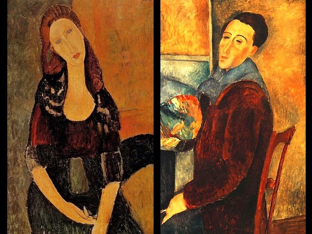 Amedeo Modigliani Portrait of Jeanne Hebuterne sitting and Self Portrait - Paintings by the Italian Expressionist painter and sculptor Amedeo Modigliani - 'Portrait of Jeanne Hebuterne sitting' (his  common-law wife) and the 'Self portrait' (1919). - , Amedeo, Modigliani, portrait, portraits, Jeanne, Hebuterne, Self, Portrait, art, arts, painter, painters, artist, artists, sculptor, sculptors, Expressionist, Expressionists, common-law, wife, wifes, 1919 - Paintings by the Italian Expressionist painter and sculptor Amedeo Modigliani - 'Portrait of Jeanne Hebuterne sitting' (his  common-law wife) and the 'Self portrait' (1919). Solve free online Amedeo Modigliani Portrait of Jeanne Hebuterne sitting and Self Portrait puzzle games or send Amedeo Modigliani Portrait of Jeanne Hebuterne sitting and Self Portrait puzzle game greeting ecards  from puzzles-games.eu.. Amedeo Modigliani Portrait of Jeanne Hebuterne sitting and Self Portrait puzzle, puzzles, puzzles games, puzzles-games.eu, puzzle games, online puzzle games, free puzzle games, free online puzzle games, Amedeo Modigliani Portrait of Jeanne Hebuterne sitting and Self Portrait free puzzle game, Amedeo Modigliani Portrait of Jeanne Hebuterne sitting and Self Portrait online puzzle game, jigsaw puzzles, Amedeo Modigliani Portrait of Jeanne Hebuterne sitting and Self Portrait jigsaw puzzle, jigsaw puzzle games, jigsaw puzzles games, Amedeo Modigliani Portrait of Jeanne Hebuterne sitting and Self Portrait puzzle game ecard, puzzles games ecards, Amedeo Modigliani Portrait of Jeanne Hebuterne sitting and Self Portrait puzzle game greeting ecard