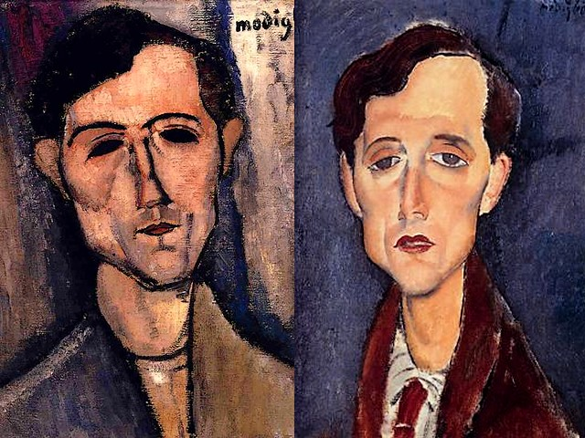 Amedeo Modigliani Portrait of a Poet and Franz Hellens - Two masterpieces by Amedeo Modigliani 'Portrait of a Poet' (aka 'Man's head', 1915, oil on canvas, Detroit Institute of the Arts, USA) and 'Franz Hellens' (1919, oil on canvas, private collection), a portrait of Frederic van Ermengem (1881-1972), a Belgian novelist, poet, critic and a famous figure of the Belgian magic realism. - , Amedeo, Modigliani, portrait, portraits, poet, poets, Franz, Hellens, art, arts, painter, painters, artist, artists, sculptor, sculptors, Expressionist, Expressionists, masterpieces, masterpiece, 1915, oil, canvas, canvases, Detroit, Institute, institutes, USA, 1919, private, collection, collections, Frederic, van, Ermengem, 1881-1972, Belgian, novelist, novelists, poet, poets, critic, critics, famous, figure, figures, magic, realism - Two masterpieces by Amedeo Modigliani 'Portrait of a Poet' (aka 'Man's head', 1915, oil on canvas, Detroit Institute of the Arts, USA) and 'Franz Hellens' (1919, oil on canvas, private collection), a portrait of Frederic van Ermengem (1881-1972), a Belgian novelist, poet, critic and a famous figure of the Belgian magic realism. Solve free online Amedeo Modigliani Portrait of a Poet and Franz Hellens puzzle games or send Amedeo Modigliani Portrait of a Poet and Franz Hellens puzzle game greeting ecards  from puzzles-games.eu.. Amedeo Modigliani Portrait of a Poet and Franz Hellens puzzle, puzzles, puzzles games, puzzles-games.eu, puzzle games, online puzzle games, free puzzle games, free online puzzle games, Amedeo Modigliani Portrait of a Poet and Franz Hellens free puzzle game, Amedeo Modigliani Portrait of a Poet and Franz Hellens online puzzle game, jigsaw puzzles, Amedeo Modigliani Portrait of a Poet and Franz Hellens jigsaw puzzle, jigsaw puzzle games, jigsaw puzzles games, Amedeo Modigliani Portrait of a Poet and Franz Hellens puzzle game ecard, puzzles games ecards, Amedeo Modigliani Portrait of a Poet and Franz Hellens puzzle game greeting ecard