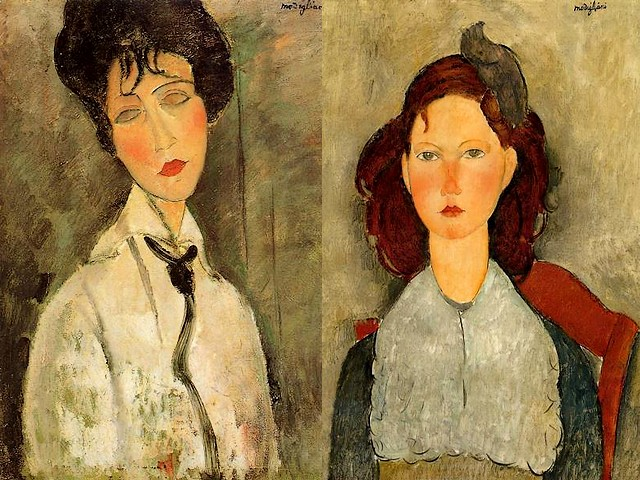 Amedeo Modigliani Portrait of a Woman in a Black Tie and Seated Young Girl - 'Portrait of a Woman in a black tie' (1917, with blank eyes to be disguised the personal individuality) and 'Seated young girl' (1918) painted by Amedeo Modigliani with the stamp upon them of his own typical, delicate lineament and melancholy. - , Amedeo, Modigliani, portrait, portraits, woman, women, black, tie, ties, seated, young, girl, girls, art, arts, painter, painters, artist, artists, sculptor, sculptors, Expressionist, Expressionists, blank, eyes, eye, personal, individuality, individualities, stamp, stamps, typical, delicate, lineament, lineaments, melancholy, melancholies - 'Portrait of a Woman in a black tie' (1917, with blank eyes to be disguised the personal individuality) and 'Seated young girl' (1918) painted by Amedeo Modigliani with the stamp upon them of his own typical, delicate lineament and melancholy. Solve free online Amedeo Modigliani Portrait of a Woman in a Black Tie and Seated Young Girl puzzle games or send Amedeo Modigliani Portrait of a Woman in a Black Tie and Seated Young Girl puzzle game greeting ecards  from puzzles-games.eu.. Amedeo Modigliani Portrait of a Woman in a Black Tie and Seated Young Girl puzzle, puzzles, puzzles games, puzzles-games.eu, puzzle games, online puzzle games, free puzzle games, free online puzzle games, Amedeo Modigliani Portrait of a Woman in a Black Tie and Seated Young Girl free puzzle game, Amedeo Modigliani Portrait of a Woman in a Black Tie and Seated Young Girl online puzzle game, jigsaw puzzles, Amedeo Modigliani Portrait of a Woman in a Black Tie and Seated Young Girl jigsaw puzzle, jigsaw puzzle games, jigsaw puzzles games, Amedeo Modigliani Portrait of a Woman in a Black Tie and Seated Young Girl puzzle game ecard, puzzles games ecards, Amedeo Modigliani Portrait of a Woman in a Black Tie and Seated Young Girl puzzle game greeting ecard
