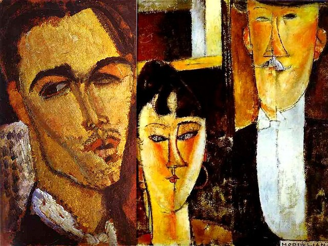 Amedeo Modigliani Portrait of the Spanish Painter Celso Lagar and Bride and Groom - 'Portrait of the Spanish Painter Celso Lagar ' (1915, oil on canvas, private collection), a sculptor and painter of landscapes, taverns, circus scenes and a series of paintings inspired by works of Cezanne, Goya and Picasso, whose life and work were distinctly separated by the two World Wars (1891-1966). 'Bride and Groom' ('The Newlyweds', 1915-1916, oil on canvas, The Museum of Modern Arts, New York, USA), is a famous portrait by Amedeo Modigliani,  influenced by Cubism, with elegant elongated facial features and almond shapes of the asymmetrically placed eyes, like his sculptures with sharp edges. - , Amedeo, Modigliani, portrait, portraits, Spanish, Celso, Lagar, Bride, Groom, art, arts, painter, painters, artist, artists, sculptor, sculptors, Expressionist, Expressionists, 1915, oil, canvas, private, collection, landscapes, landscape, taverns, tavern, circus, scenes, scene, series, serie, paintings, painting, works, work, Cezanne, Goya, Picasso, life, lifes, work, works, distinctly, World, Wars, war, 1891-1966, Newlyweds, 1915-1916, Museum, museums, Modern, New, York, USA, famous, Cubism, elegant, elongated, facial, features, feature, almond, shapes, shape, asymmetrically, eyes, eye, sculptures, sculpture, sharp, edges, edge - 'Portrait of the Spanish Painter Celso Lagar ' (1915, oil on canvas, private collection), a sculptor and painter of landscapes, taverns, circus scenes and a series of paintings inspired by works of Cezanne, Goya and Picasso, whose life and work were distinctly separated by the two World Wars (1891-1966). 'Bride and Groom' ('The Newlyweds', 1915-1916, oil on canvas, The Museum of Modern Arts, New York, USA), is a famous portrait by Amedeo Modigliani,  influenced by Cubism, with elegant elongated facial features and almond shapes of the asymmetrically placed eyes, like his sculptures with sharp edges. Solve free online Amedeo Modigliani Portrait of the Spanish Painter Celso Lagar and Bride and Groom puzzle games or send Amedeo Modigliani Portrait of the Spanish Painter Celso Lagar and Bride and Groom puzzle game greeting ecards  from puzzles-games.eu.. Amedeo Modigliani Portrait of the Spanish Painter Celso Lagar and Bride and Groom puzzle, puzzles, puzzles games, puzzles-games.eu, puzzle games, online puzzle games, free puzzle games, free online puzzle games, Amedeo Modigliani Portrait of the Spanish Painter Celso Lagar and Bride and Groom free puzzle game, Amedeo Modigliani Portrait of the Spanish Painter Celso Lagar and Bride and Groom online puzzle game, jigsaw puzzles, Amedeo Modigliani Portrait of the Spanish Painter Celso Lagar and Bride and Groom jigsaw puzzle, jigsaw puzzle games, jigsaw puzzles games, Amedeo Modigliani Portrait of the Spanish Painter Celso Lagar and Bride and Groom puzzle game ecard, puzzles games ecards, Amedeo Modigliani Portrait of the Spanish Painter Celso Lagar and Bride and Groom puzzle game greeting ecard