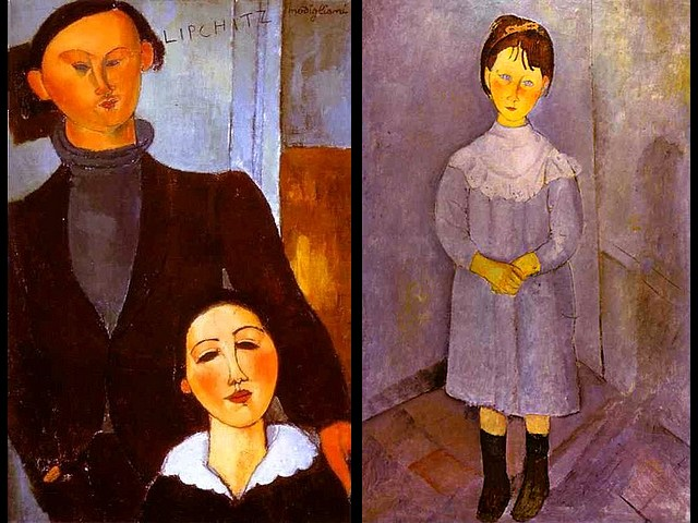 Amedeo Modigliani The Sculptor Jacques Lipchitz and His Wife Berthe Lipchitz and Little Girl in Blue - The famous painting which Amedeo Modigliani was worked for nearly two weeks, the longest time for a portrait, only for ten francs - 'The Sculptor Jacques Lipchitz and His Wife Berthe Lipchitz' (1916, oil on canvas, Art Institute of Chicago, Illinois, USA), depicts his close friend from Jewish background, newly married, a sculptor and an example of artistic industriousness, from the same artistic circle in Paris.  In 1920 he creates the death mask of Modigliani. 'Girl in Blue'  (1918, oil on canvas, private collection in Paris), is an unusual portrait of a little girl, standing stiffly in the corner, with large blue eyes and a face that radiates innocence, made in delicate blue tones, an authentic masterpiece of painting. - , Amedeo, Modigliani, sculptor, sculptors, Jacques, Lipchitz, wife, wifes, Berthe, little, girl, girls, blue, famous, painting, paintings, weeks, week, time, times, portrait, portraits, francs, franc, 1916, oil, canvas, canvases, Institute, institutes, Chicago, Illinois, USA, friend, friends, Jewish, background, backgrounds, example, examples, artistic, industriousness, artistic, circle, circles, Paris, 1920, death, mask, masks, 1918, private, collection, collections, unusual, stiffly, corner, corners, large, eyes, eye, face, faces, innocence, delicate, tones, tone, authentic, masterpiece, masterpieces - The famous painting which Amedeo Modigliani was worked for nearly two weeks, the longest time for a portrait, only for ten francs - 'The Sculptor Jacques Lipchitz and His Wife Berthe Lipchitz' (1916, oil on canvas, Art Institute of Chicago, Illinois, USA), depicts his close friend from Jewish background, newly married, a sculptor and an example of artistic industriousness, from the same artistic circle in Paris.  In 1920 he creates the death mask of Modigliani. 'Girl in Blue'  (1918, oil on canvas, private collection in Paris), is an unusual portrait of a little girl, standing stiffly in the corner, with large blue eyes and a face that radiates innocence, made in delicate blue tones, an authentic masterpiece of painting. Solve free online Amedeo Modigliani The Sculptor Jacques Lipchitz and His Wife Berthe Lipchitz and Little Girl in Blue puzzle games or send Amedeo Modigliani The Sculptor Jacques Lipchitz and His Wife Berthe Lipchitz and Little Girl in Blue puzzle game greeting ecards  from puzzles-games.eu.. Amedeo Modigliani The Sculptor Jacques Lipchitz and His Wife Berthe Lipchitz and Little Girl in Blue puzzle, puzzles, puzzles games, puzzles-games.eu, puzzle games, online puzzle games, free puzzle games, free online puzzle games, Amedeo Modigliani The Sculptor Jacques Lipchitz and His Wife Berthe Lipchitz and Little Girl in Blue free puzzle game, Amedeo Modigliani The Sculptor Jacques Lipchitz and His Wife Berthe Lipchitz and Little Girl in Blue online puzzle game, jigsaw puzzles, Amedeo Modigliani The Sculptor Jacques Lipchitz and His Wife Berthe Lipchitz and Little Girl in Blue jigsaw puzzle, jigsaw puzzle games, jigsaw puzzles games, Amedeo Modigliani The Sculptor Jacques Lipchitz and His Wife Berthe Lipchitz and Little Girl in Blue puzzle game ecard, puzzles games ecards, Amedeo Modigliani The Sculptor Jacques Lipchitz and His Wife Berthe Lipchitz and Little Girl in Blue puzzle game greeting ecard