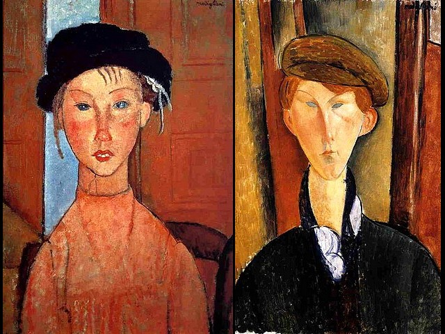 Amedeo Modigliani Young Girl in Beret and Young Man with Cap - Portraits of 'Young Girl in Beret' (1918, oil on canvas, private collection, Paris) and of 'Young Man with Cap' (1919, oil painting on canvas, The Detroit Institute of Arts, bequest of Robert H. Tannahill), by the Italian artist Amedeo Modigliani, who has painted everyone close to him for posterity, his patrons, dealers and friends from his bohemian circle in Montparnasse, female models, children and unknown persons. - , Amedeo, Modigliani, young, girl, girls, beret, berets, man, men, cap, caps, art, arts, painter, painters, artist, artists, sculptor, sculptors, Expressionist, Expressionists, portraits, portrait, 1918, oil, canvas, private, collection, collections, Paris, 1919, painting, paintings, The, Detroit, institute, institutes, bequest, bequests, Robert, Tannahill, Italian, everyone, posterity, patrons, patron, dealers, dealer, friends, friend, bohemian, circle, circles, Montparnasse, female, models, model, children, child, unknown, persons, person - Portraits of 'Young Girl in Beret' (1918, oil on canvas, private collection, Paris) and of 'Young Man with Cap' (1919, oil painting on canvas, The Detroit Institute of Arts, bequest of Robert H. Tannahill), by the Italian artist Amedeo Modigliani, who has painted everyone close to him for posterity, his patrons, dealers and friends from his bohemian circle in Montparnasse, female models, children and unknown persons. Solve free online Amedeo Modigliani Young Girl in Beret and Young Man with Cap puzzle games or send Amedeo Modigliani Young Girl in Beret and Young Man with Cap puzzle game greeting ecards  from puzzles-games.eu.. Amedeo Modigliani Young Girl in Beret and Young Man with Cap puzzle, puzzles, puzzles games, puzzles-games.eu, puzzle games, online puzzle games, free puzzle games, free online puzzle games, Amedeo Modigliani Young Girl in Beret and Young Man with Cap free puzzle game, Amedeo Modigliani Young Girl in Beret and Young Man with Cap online puzzle game, jigsaw puzzles, Amedeo Modigliani Young Girl in Beret and Young Man with Cap jigsaw puzzle, jigsaw puzzle games, jigsaw puzzles games, Amedeo Modigliani Young Girl in Beret and Young Man with Cap puzzle game ecard, puzzles games ecards, Amedeo Modigliani Young Girl in Beret and Young Man with Cap puzzle game greeting ecard