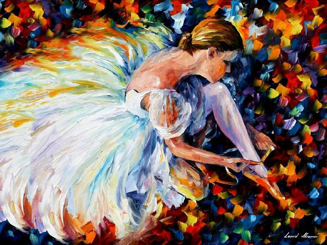 Ballerina by Leonid Afremov - 'Ballerina' is a beautiful oil painting on canvas by Leonid Afremov, depicting a young elegant girl behind the curtains, who is preparating with excitement for performance on stage. Dessed in a grace skirt, spread across the floorр she ties the ribbons of her ballet shoes.<br /> To convey the tension of the ballerina before entering the stage, together with the dark blue spots on the background, the artist uses bright colors of orange, yellow, blue and violet shades. - , ballerina, ballerinas, Leonid, Afremov, art, arts, beautiful, oil, painting, paintings, young, elegant, girl, girls, curtains, curtain, excitement, performance, stage, stages, grace, skirt, skirt, floor, floors, ribbons, ribbon, ballet, shoes, shoe, tension, blue, spots, spots, background, artist, artists, bright, colors, color, orange, yellow, violet, shades, shade - 'Ballerina' is a beautiful oil painting on canvas by Leonid Afremov, depicting a young elegant girl behind the curtains, who is preparating with excitement for performance on stage. Dessed in a grace skirt, spread across the floorр she ties the ribbons of her ballet shoes.<br /> To convey the tension of the ballerina before entering the stage, together with the dark blue spots on the background, the artist uses bright colors of orange, yellow, blue and violet shades. Resuelve rompecabezas en línea gratis Ballerina by Leonid Afremov juegos puzzle o enviar Ballerina by Leonid Afremov juego de puzzle tarjetas electrónicas de felicitación  de puzzles-games.eu.. Ballerina by Leonid Afremov puzzle, puzzles, rompecabezas juegos, puzzles-games.eu, juegos de puzzle, juegos en línea del rompecabezas, juegos gratis puzzle, juegos en línea gratis rompecabezas, Ballerina by Leonid Afremov juego de puzzle gratuito, Ballerina by Leonid Afremov juego de rompecabezas en línea, jigsaw puzzles, Ballerina by Leonid Afremov jigsaw puzzle, jigsaw puzzle games, jigsaw puzzles games, Ballerina by Leonid Afremov rompecabezas de juego tarjeta electrónica, juegos de puzzles tarjetas electrónicas, Ballerina by Leonid Afremov puzzle tarjeta electrónica de felicitación