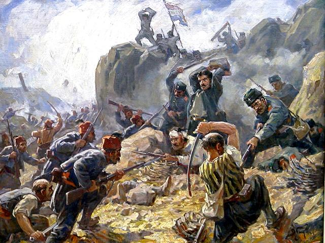 Battle of Shipka by Dimitar Gyudjenov - 'Battle of Shipka', painting by Dimitar Gyudjenov, Bulgarian artist (1891-1979) , who reproduces the battle for Shipka Pass at Orlovo Gnezdo in the Balkan Mountains, one of the most important developments during the Russo-Turkish war, where a detachment of Russian soldiers and Bulgarian volunteers three days are fighting against the invading army of Suleiman Pasha. - , battle, battles, Shipka, Dimitar, Gyudjenov, art, arts, painting, paintings, Bulgarian, artist, artists, 1891, 1979, pass, passes, Orlovo, Gnezdo, Balkan, Mountains, mountain, important, developments, development, Russo, Turkish, war, wars, detachment, detachments, Russian, soldiers, soldier, volunteers, volunteer, days, day, army, armies, Suleiman, Pasha - 'Battle of Shipka', painting by Dimitar Gyudjenov, Bulgarian artist (1891-1979) , who reproduces the battle for Shipka Pass at Orlovo Gnezdo in the Balkan Mountains, one of the most important developments during the Russo-Turkish war, where a detachment of Russian soldiers and Bulgarian volunteers three days are fighting against the invading army of Suleiman Pasha. Solve free online Battle of Shipka by Dimitar Gyudjenov puzzle games or send Battle of Shipka by Dimitar Gyudjenov puzzle game greeting ecards  from puzzles-games.eu.. Battle of Shipka by Dimitar Gyudjenov puzzle, puzzles, puzzles games, puzzles-games.eu, puzzle games, online puzzle games, free puzzle games, free online puzzle games, Battle of Shipka by Dimitar Gyudjenov free puzzle game, Battle of Shipka by Dimitar Gyudjenov online puzzle game, jigsaw puzzles, Battle of Shipka by Dimitar Gyudjenov jigsaw puzzle, jigsaw puzzle games, jigsaw puzzles games, Battle of Shipka by Dimitar Gyudjenov puzzle game ecard, puzzles games ecards, Battle of Shipka by Dimitar Gyudjenov puzzle game greeting ecard