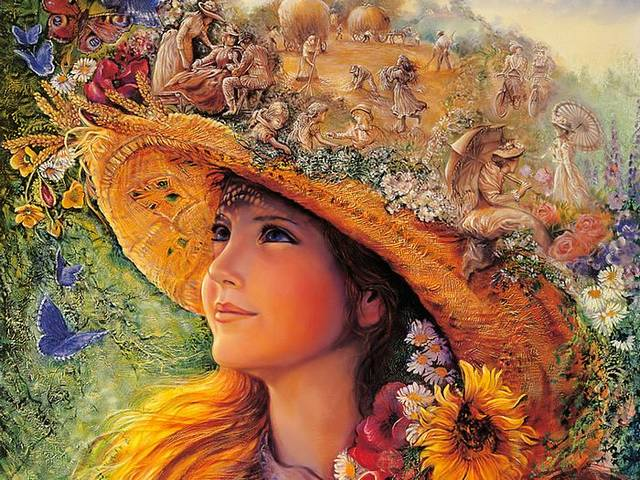 Bygone Summers by Josephine Wall - 'Bygone Summers' is an amazing fantasy painting by Josephine Wall, a spontaneous surrealistic attempt to blur the line between dream and reality. This painting depicts a beautiful girl with blonde hair who enjoys the sun on midsummer day, relaxing under a shadow of large straw hat, surrounded by vibrant summer flowers and butterflies. On the top of the hat, the straw is transformed into a cornfield with wonderful cascade of little scenes from the idyllic rural life during the haying season. - , bygone, summers, summer, Josephine, Wall, art, arts, amazing, fantasy, painting, paintings, spontaneous, surrealistic, attempt, attempts, line, lines, dream, dreams, reality, beautiful, girl, girls, blonde, hair, hairs, sun, midsummer, day, days, shadow, shadows, large, straw, hat, hats, vibrant, summer, flowers, flower, butterflies, butterfly, top, tops, cornfield, wonderful, cascade, scenes, scene, idyllic, rural, life, haying, season, seasons - 'Bygone Summers' is an amazing fantasy painting by Josephine Wall, a spontaneous surrealistic attempt to blur the line between dream and reality. This painting depicts a beautiful girl with blonde hair who enjoys the sun on midsummer day, relaxing under a shadow of large straw hat, surrounded by vibrant summer flowers and butterflies. On the top of the hat, the straw is transformed into a cornfield with wonderful cascade of little scenes from the idyllic rural life during the haying season. Solve free online Bygone Summers by Josephine Wall puzzle games or send Bygone Summers by Josephine Wall puzzle game greeting ecards  from puzzles-games.eu.. Bygone Summers by Josephine Wall puzzle, puzzles, puzzles games, puzzles-games.eu, puzzle games, online puzzle games, free puzzle games, free online puzzle games, Bygone Summers by Josephine Wall free puzzle game, Bygone Summers by Josephine Wall online puzzle game, jigsaw puzzles, Bygone Summers by Josephine Wall jigsaw puzzle, jigsaw puzzle games, jigsaw puzzles games, Bygone Summers by Josephine Wall puzzle game ecard, puzzles games ecards, Bygone Summers by Josephine Wall puzzle game greeting ecard