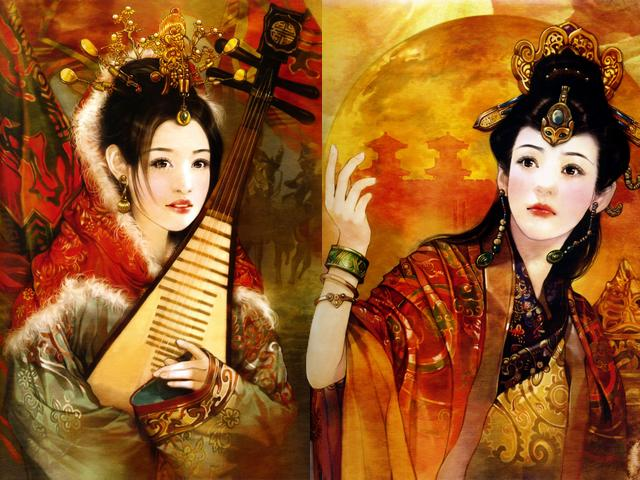 Chinese Beauties Wang Zhao Jun and Chen Jiao by Der Jen - 'Wang Zhao Jun and Chen Jiao', portraits of charming women painted by Der Jen (Dezhen), the Taiwanese artist, from an art book 'The Touching Legends Of The Chinese Beauties'. - , Chinese, beauties, beauty, Wang, Zhao, Jun, Chen, Jiao, Der, Jen, art, arts, portraits, portrait, charming, women, woman, Dezhen, Taiwanese, artist, artists, book, book, touching, legends, legend - 'Wang Zhao Jun and Chen Jiao', portraits of charming women painted by Der Jen (Dezhen), the Taiwanese artist, from an art book 'The Touching Legends Of The Chinese Beauties'. Solve free online Chinese Beauties Wang Zhao Jun and Chen Jiao by Der Jen puzzle games or send Chinese Beauties Wang Zhao Jun and Chen Jiao by Der Jen puzzle game greeting ecards  from puzzles-games.eu.. Chinese Beauties Wang Zhao Jun and Chen Jiao by Der Jen puzzle, puzzles, puzzles games, puzzles-games.eu, puzzle games, online puzzle games, free puzzle games, free online puzzle games, Chinese Beauties Wang Zhao Jun and Chen Jiao by Der Jen free puzzle game, Chinese Beauties Wang Zhao Jun and Chen Jiao by Der Jen online puzzle game, jigsaw puzzles, Chinese Beauties Wang Zhao Jun and Chen Jiao by Der Jen jigsaw puzzle, jigsaw puzzle games, jigsaw puzzles games, Chinese Beauties Wang Zhao Jun and Chen Jiao by Der Jen puzzle game ecard, puzzles games ecards, Chinese Beauties Wang Zhao Jun and Chen Jiao by Der Jen puzzle game greeting ecard