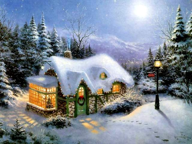 Christmas Painting Silent Night by Thomas Kinkade - 'Silent Night', a painting that brings the true meaning of Christmas, with a small cottage, where the idyllic past is glowing with a warm and fuzzy light, by the world famous American artist Thomas Kinkade. - , Christmas, painting, paintings, silent, night, nights, Thomas, Kinkade, art, arts, holidays, holiday, nature, natures, season, seasons, true, meaning, meanings, small, cottage, cottages, idyllic, past, warm, fuzzy, light, lights, world, famous, American, artist, artists - 'Silent Night', a painting that brings the true meaning of Christmas, with a small cottage, where the idyllic past is glowing with a warm and fuzzy light, by the world famous American artist Thomas Kinkade. Solve free online Christmas Painting Silent Night by Thomas Kinkade puzzle games or send Christmas Painting Silent Night by Thomas Kinkade puzzle game greeting ecards  from puzzles-games.eu.. Christmas Painting Silent Night by Thomas Kinkade puzzle, puzzles, puzzles games, puzzles-games.eu, puzzle games, online puzzle games, free puzzle games, free online puzzle games, Christmas Painting Silent Night by Thomas Kinkade free puzzle game, Christmas Painting Silent Night by Thomas Kinkade online puzzle game, jigsaw puzzles, Christmas Painting Silent Night by Thomas Kinkade jigsaw puzzle, jigsaw puzzle games, jigsaw puzzles games, Christmas Painting Silent Night by Thomas Kinkade puzzle game ecard, puzzles games ecards, Christmas Painting Silent Night by Thomas Kinkade puzzle game greeting ecard
