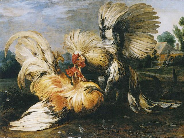 Cockfighting by Frans Snyders - A fragment of 'Cockfighting' (1615, oil on panel, Gemaeldegalerie, Berlin), an oil painting by the Flemish painter Frans Snyders (1579–1657, Antwerp). Frans Snyders was famous with paintings of animals, hunting scenes, market scenes and still-lifes. <br />