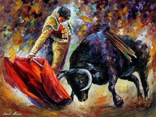 Corrida by Leonid Afremov - 'Corrida' is a beautiful oil painting on canvas with palette knife by best abstract artists of nowadays, Leonid Afremov (1955-2019). The Russian-Israeli painter depicts a full of tension moment from the dangerous show of Spanish corrida. The courageous bullfighter has no right to make a mistake in the fight with his opponent, the wild bull. - , corrida, Leonid, Afremov, art, arts, beautiful, oil, painting, paintings, canvas, palette, knife, abstract, artists, artist, nowadays, Russian-Israeli, painter, painters, tension, moment, moments, dangerous, show, shows, Spanish, courageous, bullfighter, bullfighters, right, rights, mistake, mistakes, fight, fights, opponent, opponents, wild, bull, bulls - 'Corrida' is a beautiful oil painting on canvas with palette knife by best abstract artists of nowadays, Leonid Afremov (1955-2019). The Russian-Israeli painter depicts a full of tension moment from the dangerous show of Spanish corrida. The courageous bullfighter has no right to make a mistake in the fight with his opponent, the wild bull. Solve free online Corrida by Leonid Afremov puzzle games or send Corrida by Leonid Afremov puzzle game greeting ecards  from puzzles-games.eu.. Corrida by Leonid Afremov puzzle, puzzles, puzzles games, puzzles-games.eu, puzzle games, online puzzle games, free puzzle games, free online puzzle games, Corrida by Leonid Afremov free puzzle game, Corrida by Leonid Afremov online puzzle game, jigsaw puzzles, Corrida by Leonid Afremov jigsaw puzzle, jigsaw puzzle games, jigsaw puzzles games, Corrida by Leonid Afremov puzzle game ecard, puzzles games ecards, Corrida by Leonid Afremov puzzle game greeting ecard