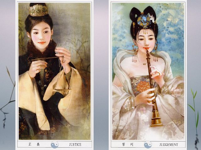 Der-Jen China Tarot Justice and Judgement - Magnificent illustrations for a 'Justice' card with a lady, who is holding scales and a of the 'Judgement' with an elegant lady playing a flute, from the beautiful tarot deck, known as 'Der-Jen China Tarot' or 'Classic Chinese Ladies Tarot', painted by Taiwanese artist Der Jen (Dezhen). - , Der, Jen, China, tarot, justice, justices, judgement, judgements, art, arts, magnificent, illustrations, illustration, card, cards, lady, ladies, scales, scale, elegant, flute, flutes, beautiful, deck, decks, classic, Taiwanese, artist, artists, Dezhen - Magnificent illustrations for a 'Justice' card with a lady, who is holding scales and a of the 'Judgement' with an elegant lady playing a flute, from the beautiful tarot deck, known as 'Der-Jen China Tarot' or 'Classic Chinese Ladies Tarot', painted by Taiwanese artist Der Jen (Dezhen). Solve free online Der-Jen China Tarot Justice and Judgement puzzle games or send Der-Jen China Tarot Justice and Judgement puzzle game greeting ecards  from puzzles-games.eu.. Der-Jen China Tarot Justice and Judgement puzzle, puzzles, puzzles games, puzzles-games.eu, puzzle games, online puzzle games, free puzzle games, free online puzzle games, Der-Jen China Tarot Justice and Judgement free puzzle game, Der-Jen China Tarot Justice and Judgement online puzzle game, jigsaw puzzles, Der-Jen China Tarot Justice and Judgement jigsaw puzzle, jigsaw puzzle games, jigsaw puzzles games, Der-Jen China Tarot Justice and Judgement puzzle game ecard, puzzles games ecards, Der-Jen China Tarot Justice and Judgement puzzle game greeting ecard
