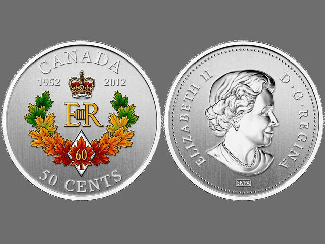 Diamond Jubilee of Queen Elizabeth II Coin with Emblem for Canada - Larger silver-plated 50-Cent coin with a stained Diamond Jubilee emblem, composed from the Queen's monogram (EIIR) below St. Edward's crown, flanked by the years 1952 and 2012, in cradle from maple leaves and a diamond with single red maple leaf and the numeral