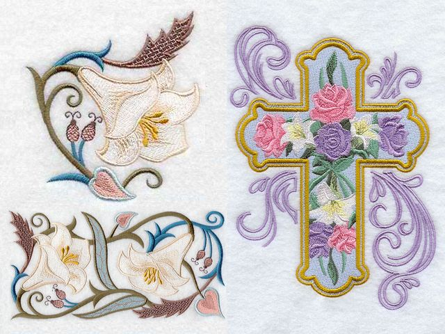 Easter Lilies and Cross Machine Embroidery - Wonderful machine embroidery with elegant design of Easter lilies in Jacobean style and an ornate cross with roses, lilies and fine curlicues, suitable as elements for a festive decoration, expressing the joy of Easter. Lilies are symbol of the spring and new life. Pink roses symbolize joyfulness, gratitude and grace. Orange roses represent enthusiasm. The yellow roses express friendship, joy, and caring. - , Easter, lilies, lily, cross, machine, embroidery, embroideries, art, arts, holiday, holidays, wonderful, elegant, design, designs, Jacobean, style, styles, ornate, roses, rose, fine, curlicues, curlicue, elements, element, festive, decoration, decorations, joy, symbol, symbols, spring, new, life, pink, joyfulness, gratitude, grace, orange, enthusiasm, yellow, friendship, caring - Wonderful machine embroidery with elegant design of Easter lilies in Jacobean style and an ornate cross with roses, lilies and fine curlicues, suitable as elements for a festive decoration, expressing the joy of Easter. Lilies are symbol of the spring and new life. Pink roses symbolize joyfulness, gratitude and grace. Orange roses represent enthusiasm. The yellow roses express friendship, joy, and caring. Solve free online Easter Lilies and Cross Machine Embroidery puzzle games or send Easter Lilies and Cross Machine Embroidery puzzle game greeting ecards  from puzzles-games.eu.. Easter Lilies and Cross Machine Embroidery puzzle, puzzles, puzzles games, puzzles-games.eu, puzzle games, online puzzle games, free puzzle games, free online puzzle games, Easter Lilies and Cross Machine Embroidery free puzzle game, Easter Lilies and Cross Machine Embroidery online puzzle game, jigsaw puzzles, Easter Lilies and Cross Machine Embroidery jigsaw puzzle, jigsaw puzzle games, jigsaw puzzles games, Easter Lilies and Cross Machine Embroidery puzzle game ecard, puzzles games ecards, Easter Lilies and Cross Machine Embroidery puzzle game greeting ecard