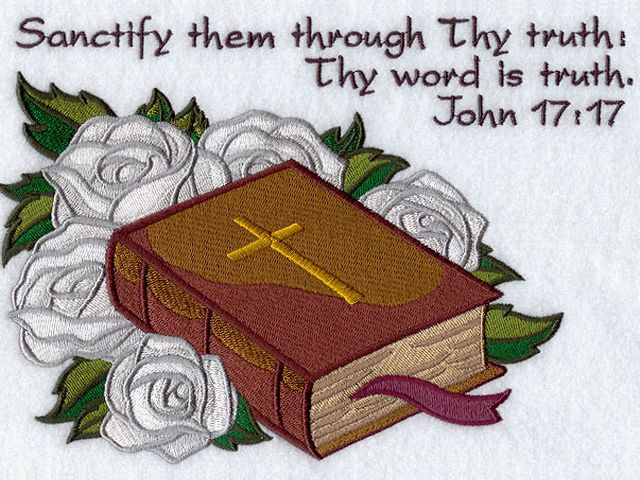 Easter Theme Bible and White Roses Machine Embroidery - Beautiful design of machine embroidery with Easter elements on religious theme as Bible and white roses, which symbolize peace and purity, accompanied with Jesus' words 'Sanctify them through Thy truth: Thy Word Is Truth (John 17:17)'. This classic decoration for Easter is a wonderful symbol of faith and rebirth and may be used on Bible cover, or for holiday decoration of your home or church. - , Easter, theme, themes, Bible, white, roses, rose, machine, embroidery, embroideries, art, arts, holiday, holidays, beautiful, design, designs, elements, element, religious, peace, purity, words, word, truth, John, classic, decoration, decorations, wonderful, symbol, symbols, faith, rebirth, cover, covers, home, homes, church, churches - Beautiful design of machine embroidery with Easter elements on religious theme as Bible and white roses, which symbolize peace and purity, accompanied with Jesus' words 'Sanctify them through Thy truth: Thy Word Is Truth (John 17:17)'. This classic decoration for Easter is a wonderful symbol of faith and rebirth and may be used on Bible cover, or for holiday decoration of your home or church. Solve free online Easter Theme Bible and White Roses Machine Embroidery puzzle games or send Easter Theme Bible and White Roses Machine Embroidery puzzle game greeting ecards  from puzzles-games.eu.. Easter Theme Bible and White Roses Machine Embroidery puzzle, puzzles, puzzles games, puzzles-games.eu, puzzle games, online puzzle games, free puzzle games, free online puzzle games, Easter Theme Bible and White Roses Machine Embroidery free puzzle game, Easter Theme Bible and White Roses Machine Embroidery online puzzle game, jigsaw puzzles, Easter Theme Bible and White Roses Machine Embroidery jigsaw puzzle, jigsaw puzzle games, jigsaw puzzles games, Easter Theme Bible and White Roses Machine Embroidery puzzle game ecard, puzzles games ecards, Easter Theme Bible and White Roses Machine Embroidery puzzle game greeting ecard
