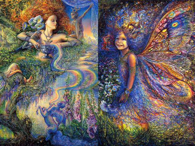 Enchantment and the Forest Fairy by Josephine Wall - 'Enchantment' and 'The Forest Fairy' are two fascinating surreal-like fantasy artworks by Josephine Wall, a mystical journey into the magical world the imagination and kindness.<br /> In 'Enchantment' (2003), the beautiful Celtic wood nymph which holds a chalice of Hope, is surrounded by numerous mythical figures. The mission of winged centaur is to spread hers love and support to all living things, which contribute the beauty to our planet.<br /> 'Forest Fairy' is a mythical fairy, which wanders through the forest, far from human sight, in awe of all that surrounds her. On the sunlit glade, she happily gathers wild anemones, and delights in the freedom and the nature's bounty. - , enchantment, forest, fairy, Josephine, Wall, art, arts, fascinating, surreal, fantasy, artworks, artwork, mystical, journey, journeys, magical, world, worlds, imagination, kindness, beautiful, Celtic, wood, nymph, nymphs, chalice, hope, mythical, figures, figure, mission, missions, winged, centaur, love, support, beauty, planet - 'Enchantment' and 'The Forest Fairy' are two fascinating surreal-like fantasy artworks by Josephine Wall, a mystical journey into the magical world the imagination and kindness.<br /> In 'Enchantment' (2003), the beautiful Celtic wood nymph which holds a chalice of Hope, is surrounded by numerous mythical figures. The mission of winged centaur is to spread hers love and support to all living things, which contribute the beauty to our planet.<br /> 'Forest Fairy' is a mythical fairy, which wanders through the forest, far from human sight, in awe of all that surrounds her. On the sunlit glade, she happily gathers wild anemones, and delights in the freedom and the nature's bounty. Solve free online Enchantment and the Forest Fairy by Josephine Wall puzzle games or send Enchantment and the Forest Fairy by Josephine Wall puzzle game greeting ecards  from puzzles-games.eu.. Enchantment and the Forest Fairy by Josephine Wall puzzle, puzzles, puzzles games, puzzles-games.eu, puzzle games, online puzzle games, free puzzle games, free online puzzle games, Enchantment and the Forest Fairy by Josephine Wall free puzzle game, Enchantment and the Forest Fairy by Josephine Wall online puzzle game, jigsaw puzzles, Enchantment and the Forest Fairy by Josephine Wall jigsaw puzzle, jigsaw puzzle games, jigsaw puzzles games, Enchantment and the Forest Fairy by Josephine Wall puzzle game ecard, puzzles games ecards, Enchantment and the Forest Fairy by Josephine Wall puzzle game greeting ecard