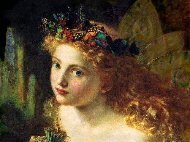 Fairy Queen by Sophie Anderson Fragment - Fragment of 'Fairy Queen' (circa 1880, oil on canvas, private collections), wonderful picture enchanted with serenity, depicting a girl with wreath of colourful butterflies, painted by  Sophie Gengembre Anderson (1823-1903), a French-born British artist, landscape painter and illustrator. The full title of this painting is:<br /> 'Take the fair face of woman, and gently suspending,<br /> With butterflies, flowers, and jewels attending,<br /> Thus your fairy is made of most beautiful things.'<br /> It is supposed, that these three lines were taken from a poem by Charles Ede, but that's just a guess. - , fairy, queen, queens, Sophie, Anderson, fragment, fragments, art, arts, 1880, oil, canvas, private, collections, collection, wonderful, picture, pictures, serenity, girl, girls, wreath, wreaths, colourful, butterflies, butterfly, Gengembre, 1823, 1903, French, British, artist, artists, landscape, landscapes, painter, painters, illustrator, illustrators, title, titles, painting, paintings, fair, face, faces, woman, women, gently, flowers, flower, jewels, beautiful, lines, line, poem, poems, Charles, Ede, guess - Fragment of 'Fairy Queen' (circa 1880, oil on canvas, private collections), wonderful picture enchanted with serenity, depicting a girl with wreath of colourful butterflies, painted by  Sophie Gengembre Anderson (1823-1903), a French-born British artist, landscape painter and illustrator. The full title of this painting is:<br /> 'Take the fair face of woman, and gently suspending,<br /> With butterflies, flowers, and jewels attending,<br /> Thus your fairy is made of most beautiful things.'<br /> It is supposed, that these three lines were taken from a poem by Charles Ede, but that's just a guess. Solve free online Fairy Queen by Sophie Anderson Fragment puzzle games or send Fairy Queen by Sophie Anderson Fragment puzzle game greeting ecards  from puzzles-games.eu.. Fairy Queen by Sophie Anderson Fragment puzzle, puzzles, puzzles games, puzzles-games.eu, puzzle games, online puzzle games, free puzzle games, free online puzzle games, Fairy Queen by Sophie Anderson Fragment free puzzle game, Fairy Queen by Sophie Anderson Fragment online puzzle game, jigsaw puzzles, Fairy Queen by Sophie Anderson Fragment jigsaw puzzle, jigsaw puzzle games, jigsaw puzzles games, Fairy Queen by Sophie Anderson Fragment puzzle game ecard, puzzles games ecards, Fairy Queen by Sophie Anderson Fragment puzzle game greeting ecard