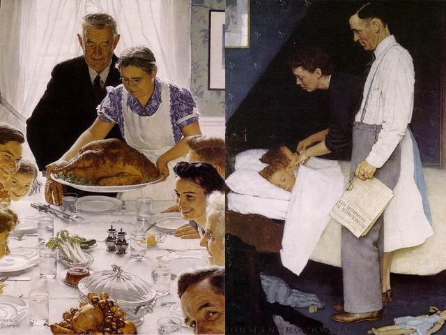 Four Freedoms by Norman Rockwell - The paintings 'Freedom from Want' (aka the 'Norman Rockwell Thanksgiving') and 'Freedom from Fear', from the famous artworks series 'Four Freedoms', by the American artist Norman Rockwell (oil on canvas, 1943, Norman Rockwell Museum Stockbridge, Massachusetts, United States). - , Four, Freedoms, Norman, Rockwell, art, arts, cartoon, cartoons, holidays, holiday, feast, feasts, freedom, want, Thanksgiving, fear, fears, famous, artwork, artworks, series, serie, American, artist, artists, oil, canvas, canvases, 1943, museum, museums, Stockbridge, Massachusetts, United, States - The paintings 'Freedom from Want' (aka the 'Norman Rockwell Thanksgiving') and 'Freedom from Fear', from the famous artworks series 'Four Freedoms', by the American artist Norman Rockwell (oil on canvas, 1943, Norman Rockwell Museum Stockbridge, Massachusetts, United States). Solve free online Four Freedoms by Norman Rockwell puzzle games or send Four Freedoms by Norman Rockwell puzzle game greeting ecards  from puzzles-games.eu.. Four Freedoms by Norman Rockwell puzzle, puzzles, puzzles games, puzzles-games.eu, puzzle games, online puzzle games, free puzzle games, free online puzzle games, Four Freedoms by Norman Rockwell free puzzle game, Four Freedoms by Norman Rockwell online puzzle game, jigsaw puzzles, Four Freedoms by Norman Rockwell jigsaw puzzle, jigsaw puzzle games, jigsaw puzzles games, Four Freedoms by Norman Rockwell puzzle game ecard, puzzles games ecards, Four Freedoms by Norman Rockwell puzzle game greeting ecard