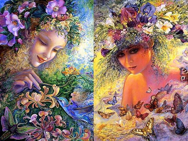 Honeysuckle and Flora by Josephine Wall - 'Honeysuckle' (acrylic on canvas, 2007) and 'Flora' are two stunning artworks by the Mistress of fantasy, Josephine Wall, specialized in mystical, surreal-like paintings. She has an amazing sense for light, color and for a visual story-telling. <br /> In 'Honeysuckle', the beautiful fairy is represented to fondle gently  Bluebird, a symbol of the happiness, with a stem of honeysuckle, surrounded by butterflies and bees attracted by the gorgeous blossoms in shape of bells and the nectar with a strong sweet scent. <br /> The delicate and beautiful face of Flora, the Roman goddess of flowers, radiates a soft glow, among the abundance of flowers with fragrant petals and butterflies fluttering around them. - , honeysuckle, honeysuckles, Flora, Josephine, Wall, art, arts, acrylic, canvas, 2007, stunning, artworks, artwork, Mistress, fantasy, mystical, surreal, paintings, painting, amazing, sense, light, color, visual, story, telling, beautiful, fairy, fairies, gently, Bluebird, symbol, symbols, happiness, stem, stems, butterflies, butterfly, bees, bee, gorgeous, blossoms, blossom, shape, shapes, bells, bell, nectar, strong, sweet, scent, delicate, beautiful, face, faces, Roman, goddess, goddesses, flowers, flower, soft, glow, abundance, fragrant, petals, petal - 'Honeysuckle' (acrylic on canvas, 2007) and 'Flora' are two stunning artworks by the Mistress of fantasy, Josephine Wall, specialized in mystical, surreal-like paintings. She has an amazing sense for light, color and for a visual story-telling. <br /> In 'Honeysuckle', the beautiful fairy is represented to fondle gently  Bluebird, a symbol of the happiness, with a stem of honeysuckle, surrounded by butterflies and bees attracted by the gorgeous blossoms in shape of bells and the nectar with a strong sweet scent. <br /> The delicate and beautiful face of Flora, the Roman goddess of flowers, radiates a soft glow, among the abundance of flowers with fragrant petals and butterflies fluttering around them. Подреждайте безплатни онлайн Honeysuckle and Flora by Josephine Wall пъзел игри или изпратете Honeysuckle and Flora by Josephine Wall пъзел игра поздравителна картичка  от puzzles-games.eu.. Honeysuckle and Flora by Josephine Wall пъзел, пъзели, пъзели игри, puzzles-games.eu, пъзел игри, online пъзел игри, free пъзел игри, free online пъзел игри, Honeysuckle and Flora by Josephine Wall free пъзел игра, Honeysuckle and Flora by Josephine Wall online пъзел игра, jigsaw puzzles, Honeysuckle and Flora by Josephine Wall jigsaw puzzle, jigsaw puzzle games, jigsaw puzzles games, Honeysuckle and Flora by Josephine Wall пъзел игра картичка, пъзели игри картички, Honeysuckle and Flora by Josephine Wall пъзел игра поздравителна картичка