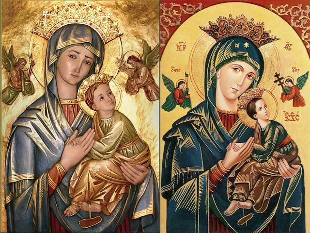 Icon of Our Mother of Perpetual Help or Virgin of the Passion - Two lovely reproductions depicting 'Our Mother of Perpetual Help' (Our Lady of Perpetual Succour), versions of the famous Byzantine icon of the same name, dating from the 15th century. <br /> The image of Our Mother of Perpetual Help has become the most popular religious icon among Roman Catholics and can be seen in homes, business establishments, and a public transportation. The great majority of the artists of the icons are hidden in anonymity. In the modern reproductions, the face of Our Lady of Perpetual Help seems filled with life, effulgent and with innocent purity, full of compassion look, ready to help her devotees in whatever they need. Jesus is depicted with a noble and kingly face, but looks like a cute little boy with fallen sandal on the right foot, snuggled in the lap of his mother.<br /> In the Eastern Orthodox Church, this artistic iconography is known as the Virgin of the Passion, due to the two Archangels carrying the instruments of the Passion (of the crucifixion) of Jesus Christ. - , icon, icons, Mother, Perpetual, Help, Virgin, Passion, art, arts, lovely, reproductions, Succour, versions, famous, Byzantine, name, 15th, century, image, images, popular, religious, Roman, Catholics, homes, business, establishments, public, transportation, majority, artists, anonymity, modern, face, life, effulgent, innocent, purity, compassion, look, devotees, Jesus, noble, kingly, face, cute, little, boy, sandal, foot, lap, Eastern, Orthodox, Church, artistic, iconography, Archangels, instruments, crucifixion, Christ - Two lovely reproductions depicting 'Our Mother of Perpetual Help' (Our Lady of Perpetual Succour), versions of the famous Byzantine icon of the same name, dating from the 15th century. <br /> The image of Our Mother of Perpetual Help has become the most popular religious icon among Roman Catholics and can be seen in homes, business establishments, and a public transportation. The great majority of the artists of the icons are hidden in anonymity. In the modern reproductions, the face of Our Lady of Perpetual Help seems filled with life, effulgent and with innocent purity, full of compassion look, ready to help her devotees in whatever they need. Jesus is depicted with a noble and kingly face, but looks like a cute little boy with fallen sandal on the right foot, snuggled in the lap of his mother.<br /> In the Eastern Orthodox Church, this artistic iconography is known as the Virgin of the Passion, due to the two Archangels carrying the instruments of the Passion (of the crucifixion) of Jesus Christ. Подреждайте безплатни онлайн Icon of Our Mother of Perpetual Help or Virgin of the Passion пъзел игри или изпратете Icon of Our Mother of Perpetual Help or Virgin of the Passion пъзел игра поздравителна картичка  от puzzles-games.eu.. Icon of Our Mother of Perpetual Help or Virgin of the Passion пъзел, пъзели, пъзели игри, puzzles-games.eu, пъзел игри, online пъзел игри, free пъзел игри, free online пъзел игри, Icon of Our Mother of Perpetual Help or Virgin of the Passion free пъзел игра, Icon of Our Mother of Perpetual Help or Virgin of the Passion online пъзел игра, jigsaw puzzles, Icon of Our Mother of Perpetual Help or Virgin of the Passion jigsaw puzzle, jigsaw puzzle games, jigsaw puzzles games, Icon of Our Mother of Perpetual Help or Virgin of the Passion пъзел игра картичка, пъзели игри картички, Icon of Our Mother of Perpetual Help or Virgin of the Passion пъзел игра поздравителна картичка