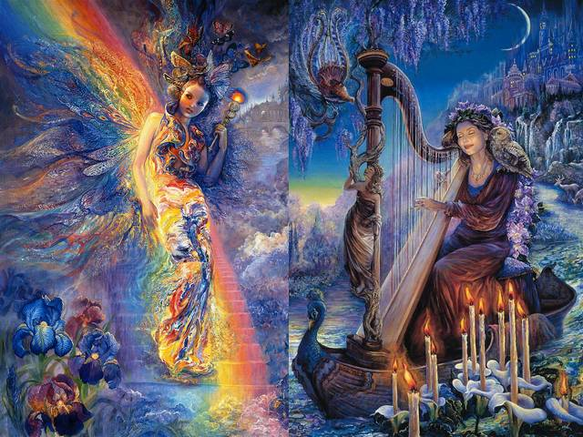 Iris Keeper of the Rainbow and Minervas Melody by Josephine Wall - 'Iris Keeper of the Rainbow' and 'Minerva's Melody' are two beautiful paintings of goddesses from the magnificent 'Mystical World' collection by the famous English artist Josephine Wall, which fascinate with mesmerizing details and vibrant colours.<br /> The ancient Greeks identify the rainbow with the goddess Iris, who travels so swiftly, that mortals can see only the traces of rainbow colours when she is passing through the sky.<br /> The goddess Minerva represents the music, which is an universal language, understood and loved by every nation on the Earth. She travels together with the 'owl of wisdom', downstream the river of life, spreading the magic of her melodies to all. - , Iris, keeper, rainbow, Minervas, Minerva, melody, melodies, Josephine, Wall, art, arts, beautiful, paintings, painting, goddesses, goddess, magnificent, mystical, world, collection, collections, famous, English, artist, artists, mesmerizing, details, detail, vibrant, colours, colour, ancient, Greeks, Greek, swiftly, mortals, mortal, traces, trace, sky, music, universal, language, language, nation, nations, Earth, owl, owls, wisdom, downstream, river, rivers, life, magic - 'Iris Keeper of the Rainbow' and 'Minerva's Melody' are two beautiful paintings of goddesses from the magnificent 'Mystical World' collection by the famous English artist Josephine Wall, which fascinate with mesmerizing details and vibrant colours.<br /> The ancient Greeks identify the rainbow with the goddess Iris, who travels so swiftly, that mortals can see only the traces of rainbow colours when she is passing through the sky.<br /> The goddess Minerva represents the music, which is an universal language, understood and loved by every nation on the Earth. She travels together with the 'owl of wisdom', downstream the river of life, spreading the magic of her melodies to all. Решайте бесплатные онлайн Iris Keeper of the Rainbow and Minervas Melody by Josephine Wall пазлы игры или отправьте Iris Keeper of the Rainbow and Minervas Melody by Josephine Wall пазл игру приветственную открытку  из puzzles-games.eu.. Iris Keeper of the Rainbow and Minervas Melody by Josephine Wall пазл, пазлы, пазлы игры, puzzles-games.eu, пазл игры, онлайн пазл игры, игры пазлы бесплатно, бесплатно онлайн пазл игры, Iris Keeper of the Rainbow and Minervas Melody by Josephine Wall бесплатно пазл игра, Iris Keeper of the Rainbow and Minervas Melody by Josephine Wall онлайн пазл игра , jigsaw puzzles, Iris Keeper of the Rainbow and Minervas Melody by Josephine Wall jigsaw puzzle, jigsaw puzzle games, jigsaw puzzles games, Iris Keeper of the Rainbow and Minervas Melody by Josephine Wall пазл игра открытка, пазлы игры открытки, Iris Keeper of the Rainbow and Minervas Melody by Josephine Wall пазл игра приветственная открытка