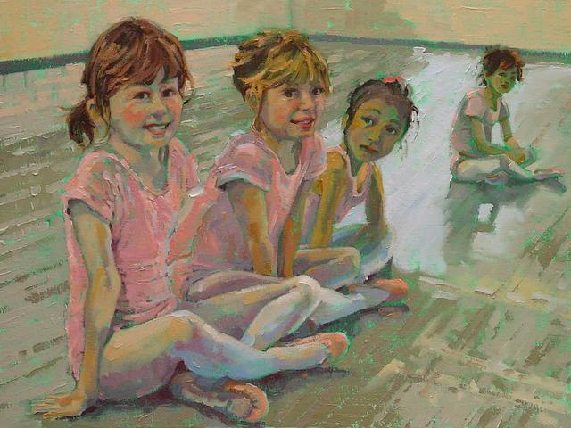 Little Ballerinas by Susan Smolensky - 'Little Ballerinas' (oil on canvas, 2010), a group of children from the ballet class with beautiful smiles, a painting by the American contemporary artist Susan Smolensky, who is  living and working in Reno, Nevada, USA. - , little, ballerinas, ballerina, Susan, Smolensky, art, arts, oil, canvas, canvases, 2010, group, groups, beautiful, children, child, ballet, class, classes, smiles, smile, painting, paintings, American, contemporary, artist, artists, Reno, Nevada, USA - 'Little Ballerinas' (oil on canvas, 2010), a group of children from the ballet class with beautiful smiles, a painting by the American contemporary artist Susan Smolensky, who is  living and working in Reno, Nevada, USA. Solve free online Little Ballerinas by Susan Smolensky puzzle games or send Little Ballerinas by Susan Smolensky puzzle game greeting ecards  from puzzles-games.eu.. Little Ballerinas by Susan Smolensky puzzle, puzzles, puzzles games, puzzles-games.eu, puzzle games, online puzzle games, free puzzle games, free online puzzle games, Little Ballerinas by Susan Smolensky free puzzle game, Little Ballerinas by Susan Smolensky online puzzle game, jigsaw puzzles, Little Ballerinas by Susan Smolensky jigsaw puzzle, jigsaw puzzle games, jigsaw puzzles games, Little Ballerinas by Susan Smolensky puzzle game ecard, puzzles games ecards, Little Ballerinas by Susan Smolensky puzzle game greeting ecard